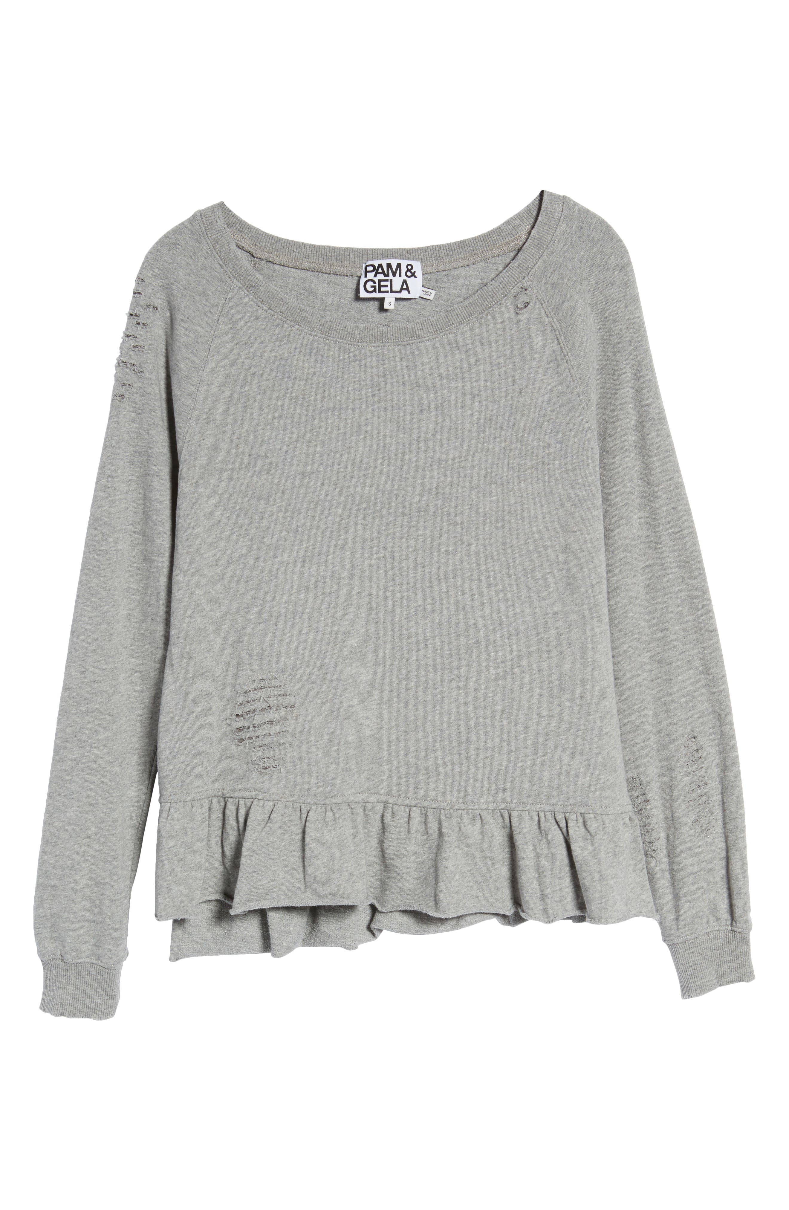 Ruffle Sweatshirt,                             Alternate thumbnail 6, color,                             031