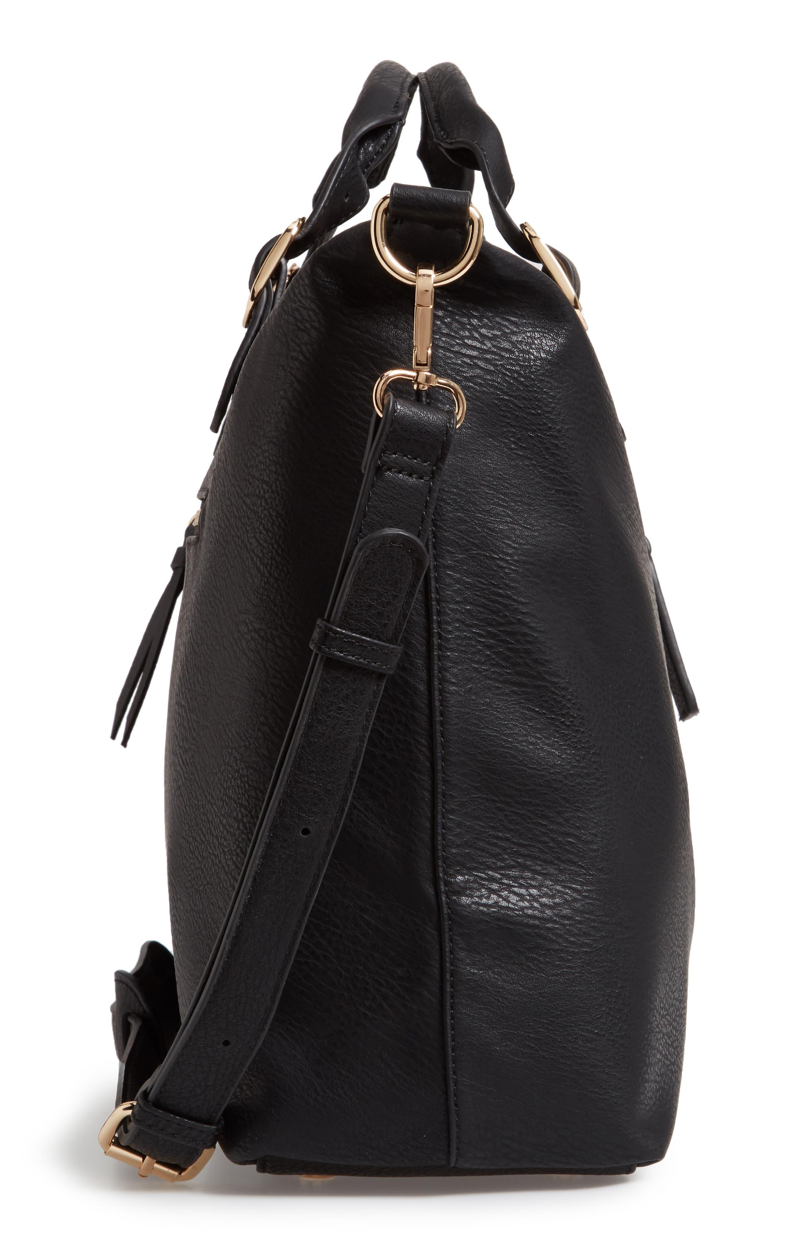 Grant Faux Leather Weekend Bag,                             Alternate thumbnail 5, color,                             BLACK