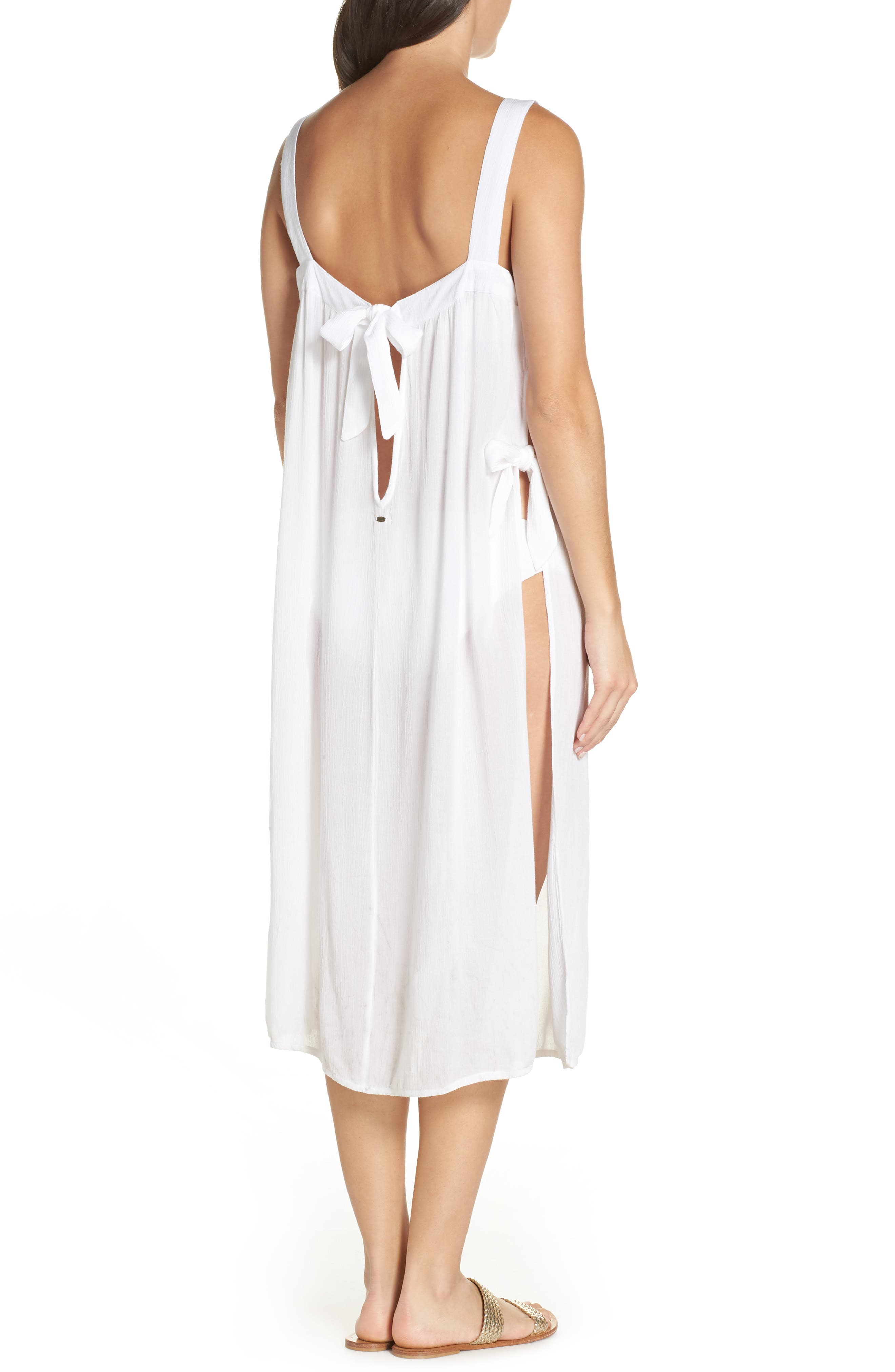 Lucca Cover-Up Midi Dress,                             Alternate thumbnail 2, color,                             WHITE