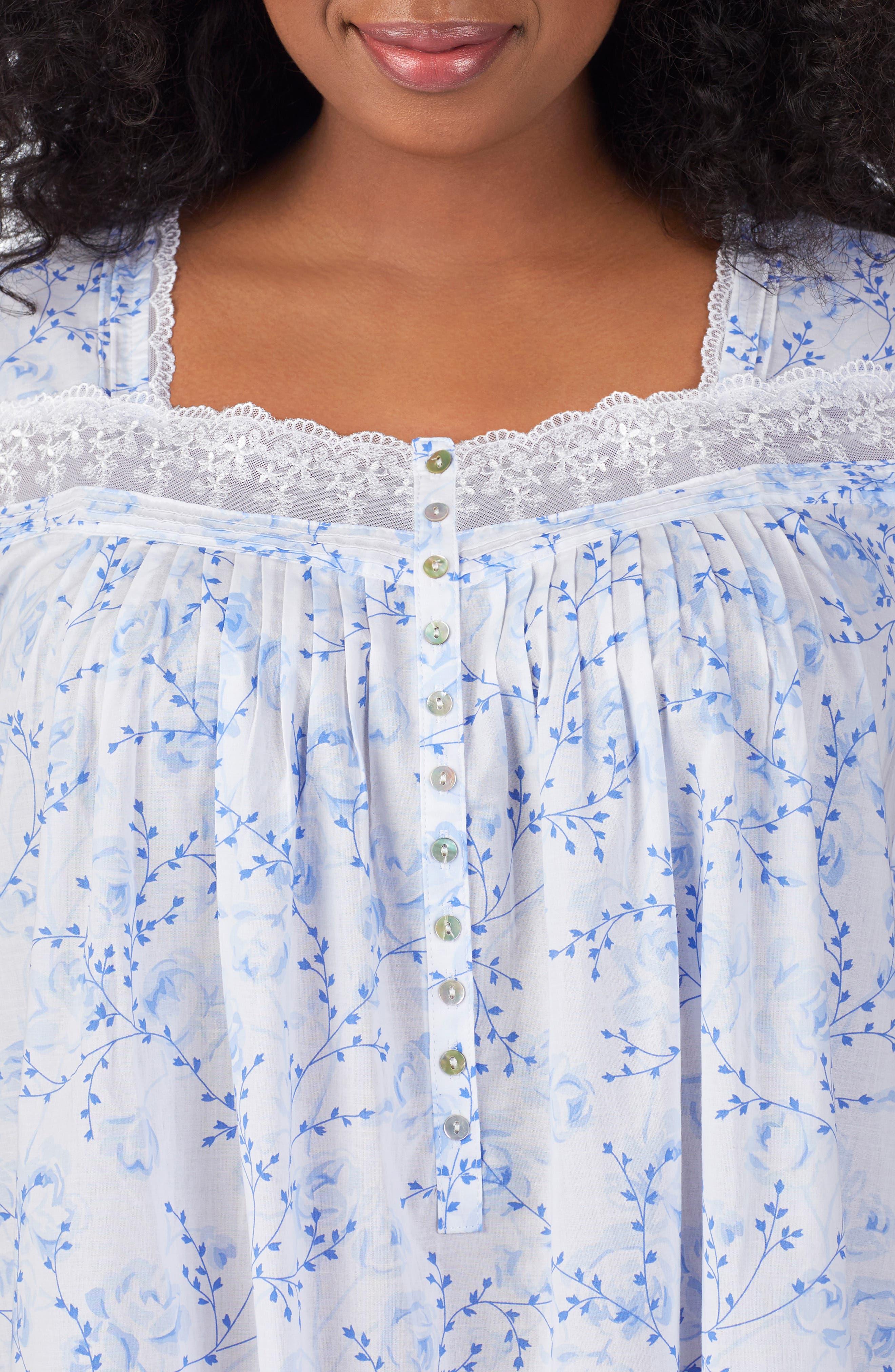 Cotton Lawn Nightgown,                             Alternate thumbnail 3, color,                             BLUE FLORAL