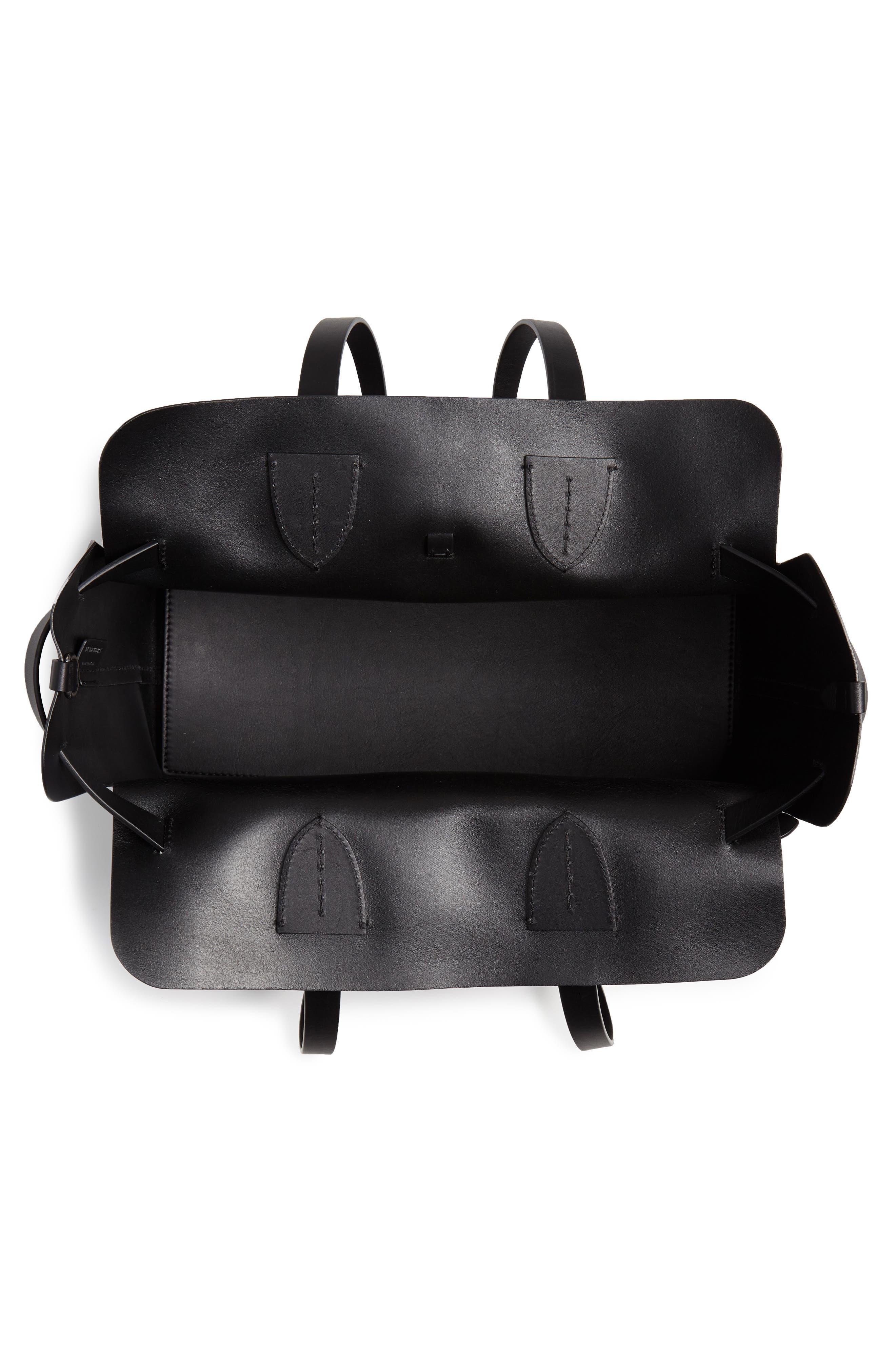 Medium Belt Bag Leather Tote,                             Alternate thumbnail 4, color,                             BLACK
