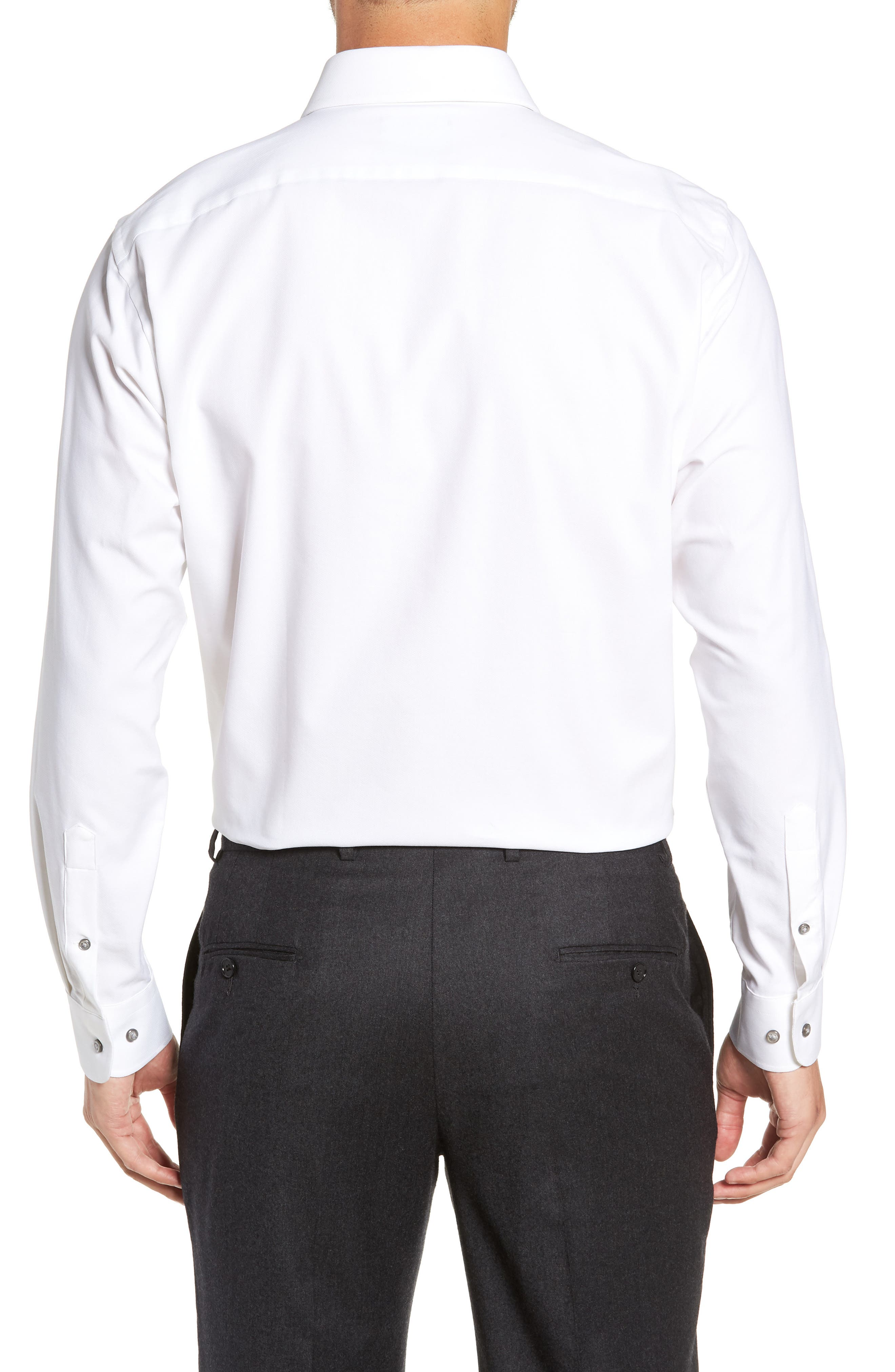 Tech-Smart Traditional Fit Stretch Solid Dress Shirt,                             Alternate thumbnail 3, color,                             WHITE