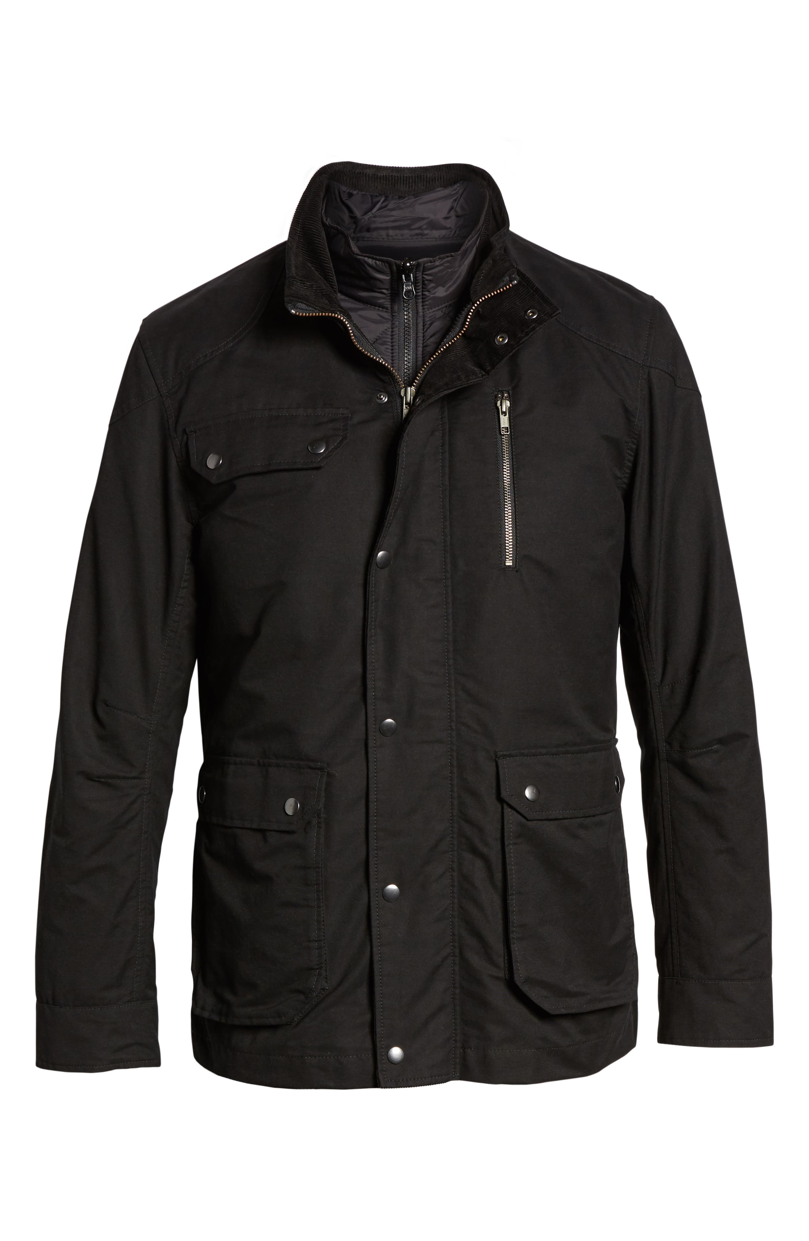 'Harper' Water Resistant 3-in-1 Waxed Canvas Jacket,                             Alternate thumbnail 7, color,                             ONYX