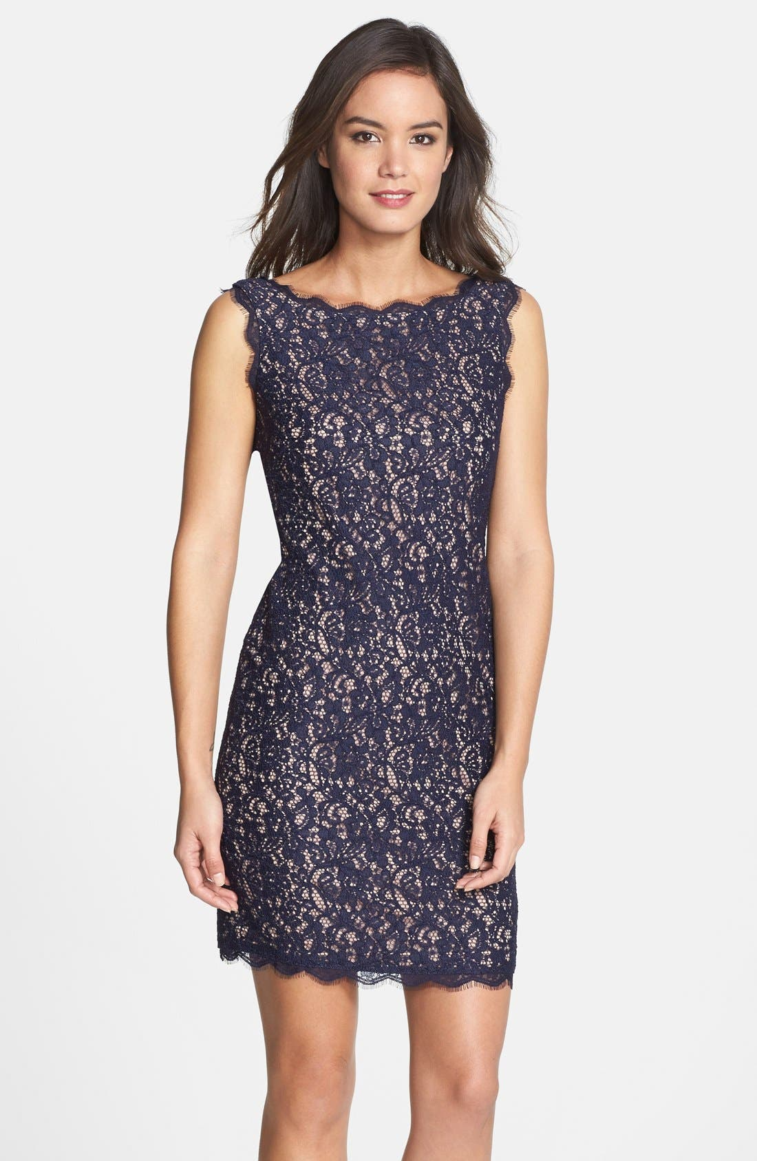 Boatneck Lace Sheath Dress,                             Main thumbnail 3, color,