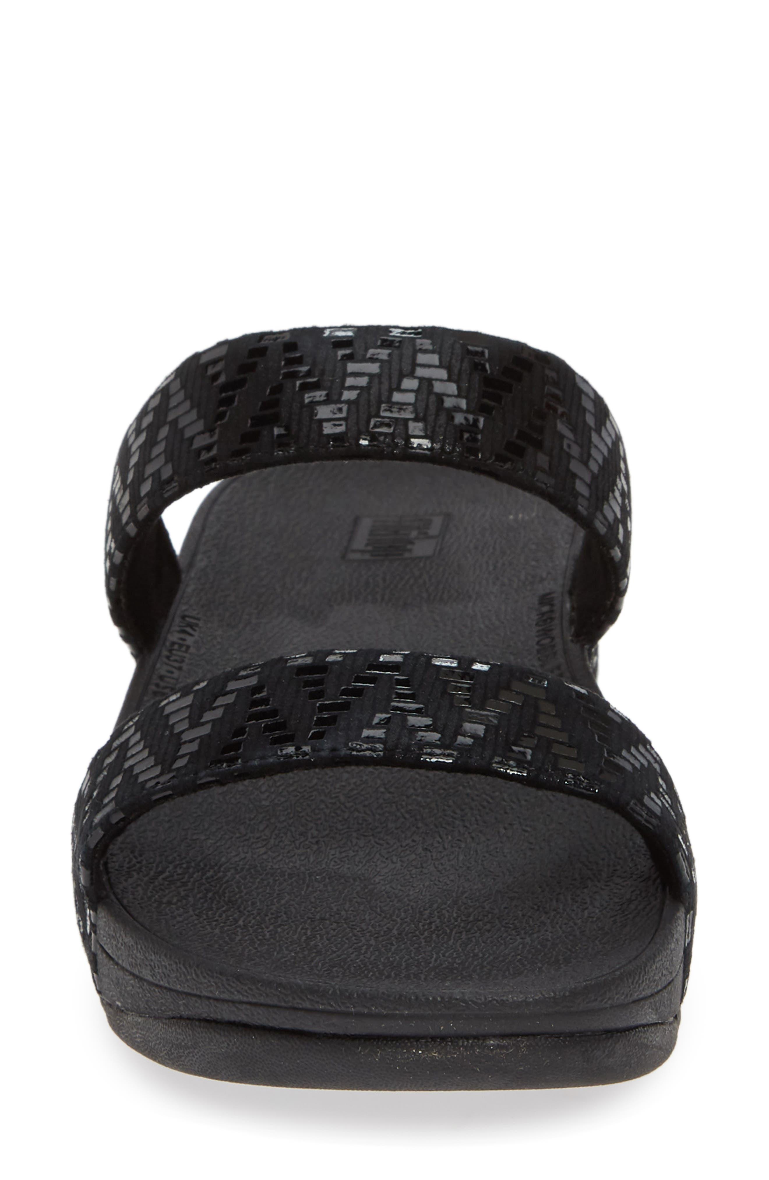 Lottie Chevron Wedge Slide Sandal,                             Alternate thumbnail 4, color,                             BLACK FABRIC