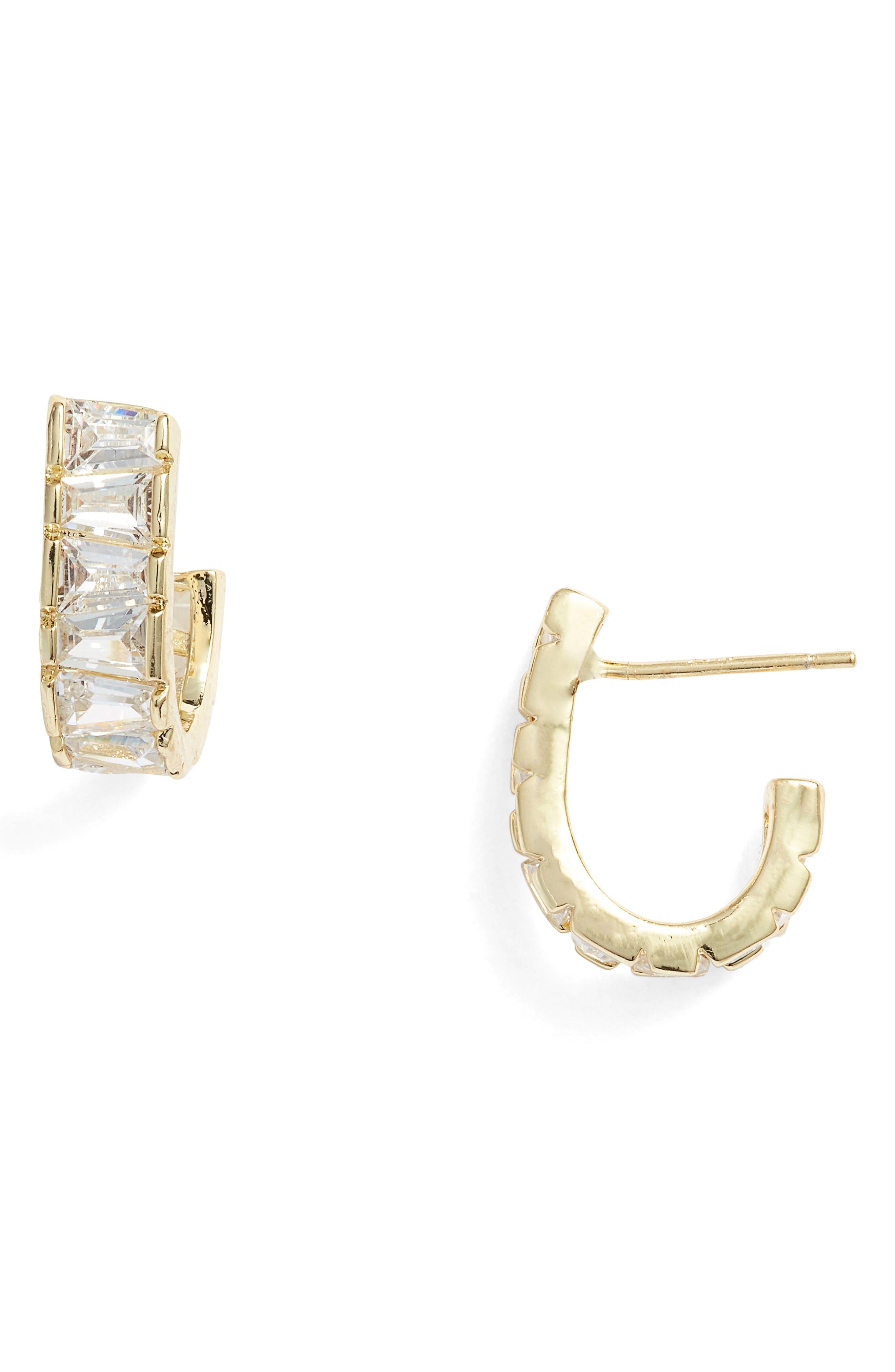 MELINDA MARIA Grace Huggie Hoop Earrings in Clear/ Gold