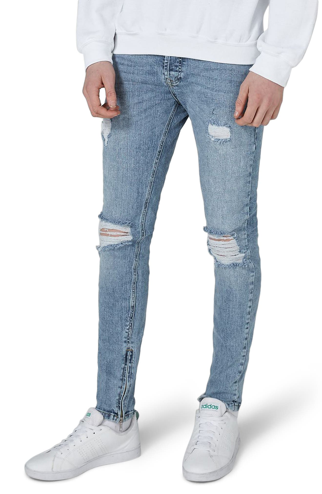 Ripped Acid Wash Skinny Jeans,                             Main thumbnail 1, color,                             BLUE
