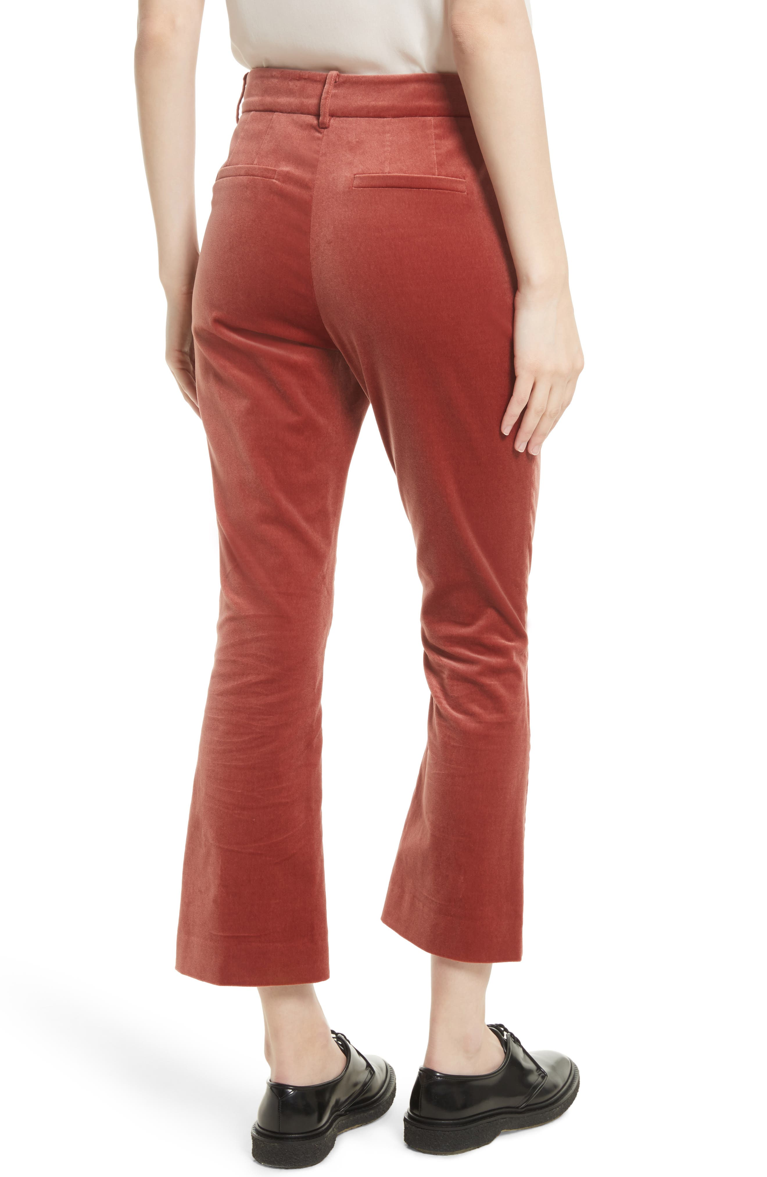 O-Ring Velvet Crop Flare Pants,                             Alternate thumbnail 2, color,                             600