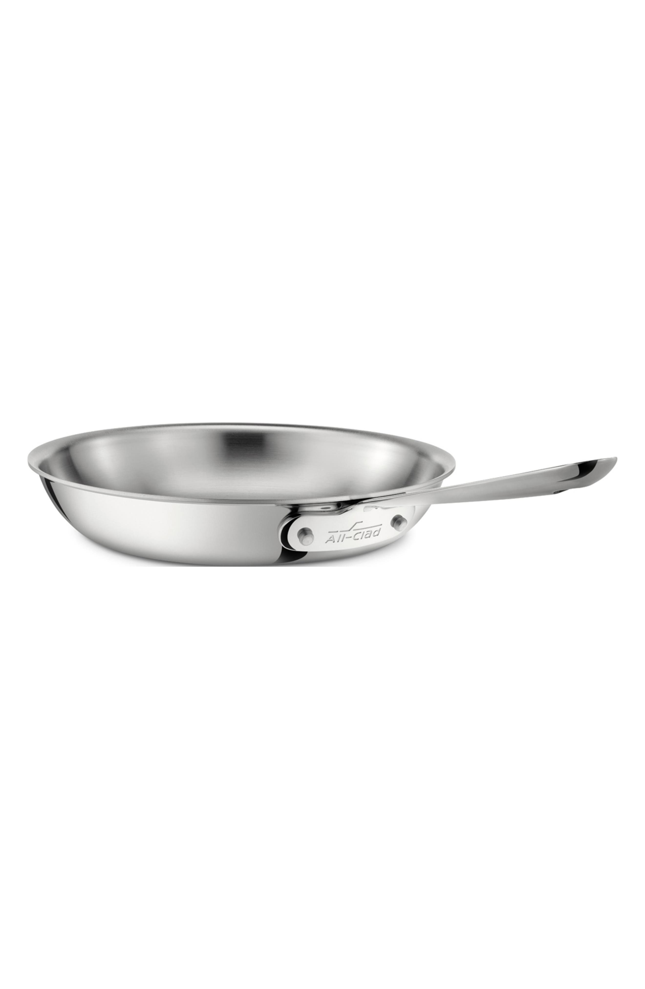 D3 8-Inch Stainless Steel Fry Pan,                         Main,                         color, SILVER