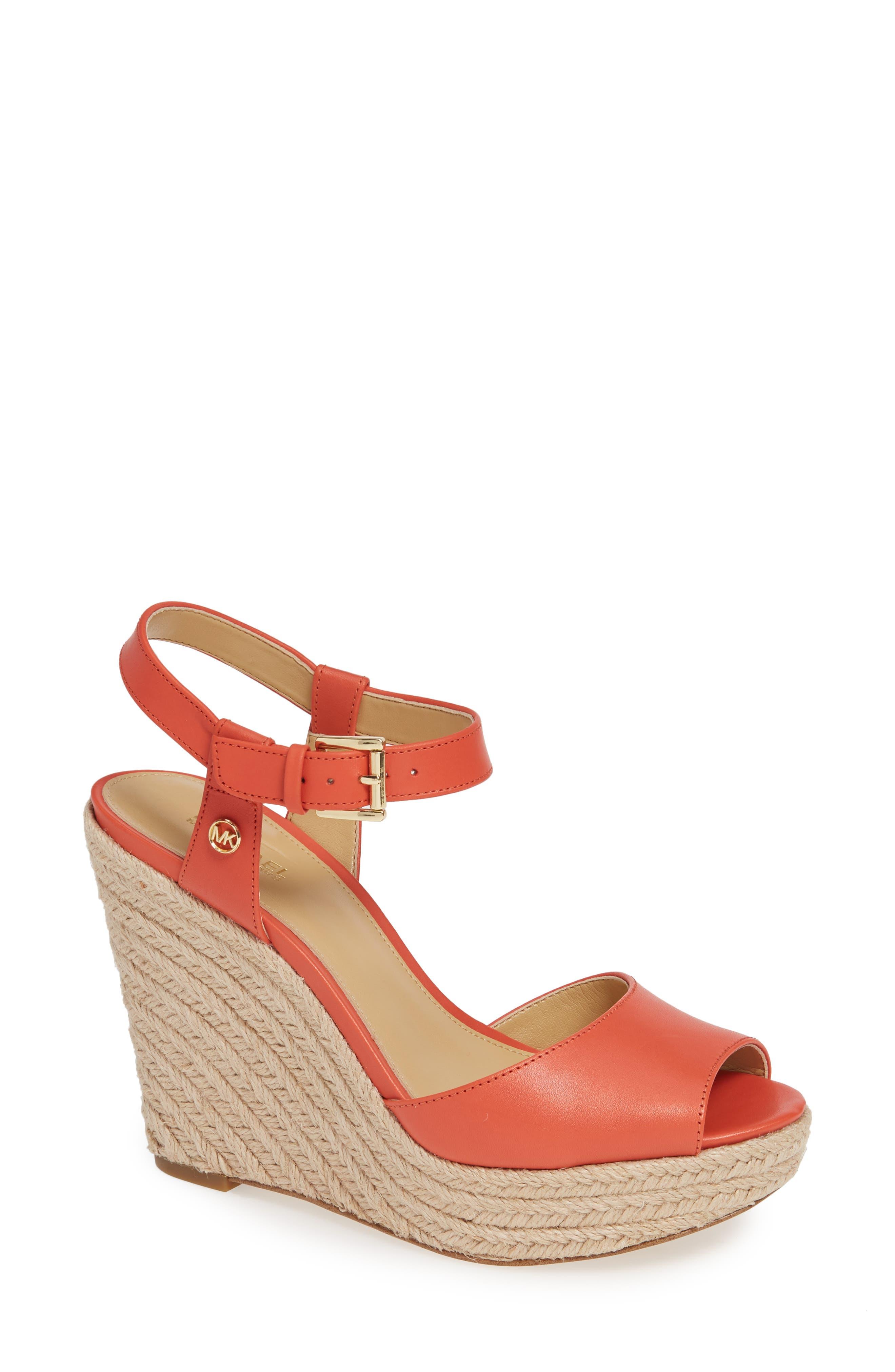 Michael Michael Kors Carlyn Espadrille Wedge Sandal- Red