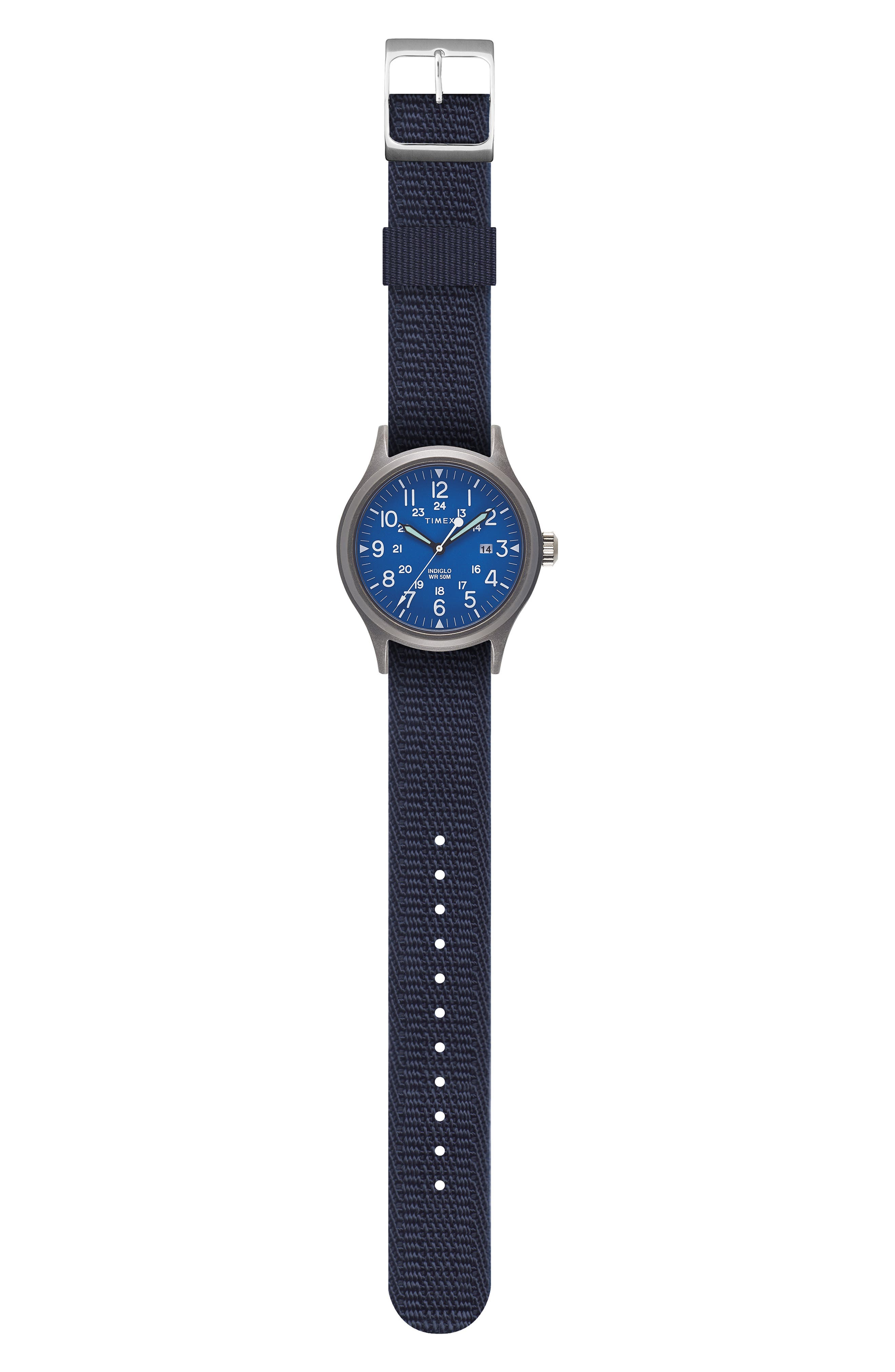 Allied Reversible Strap Watch, 40mm,                             Alternate thumbnail 4, color,                             SILVER/ BLUE