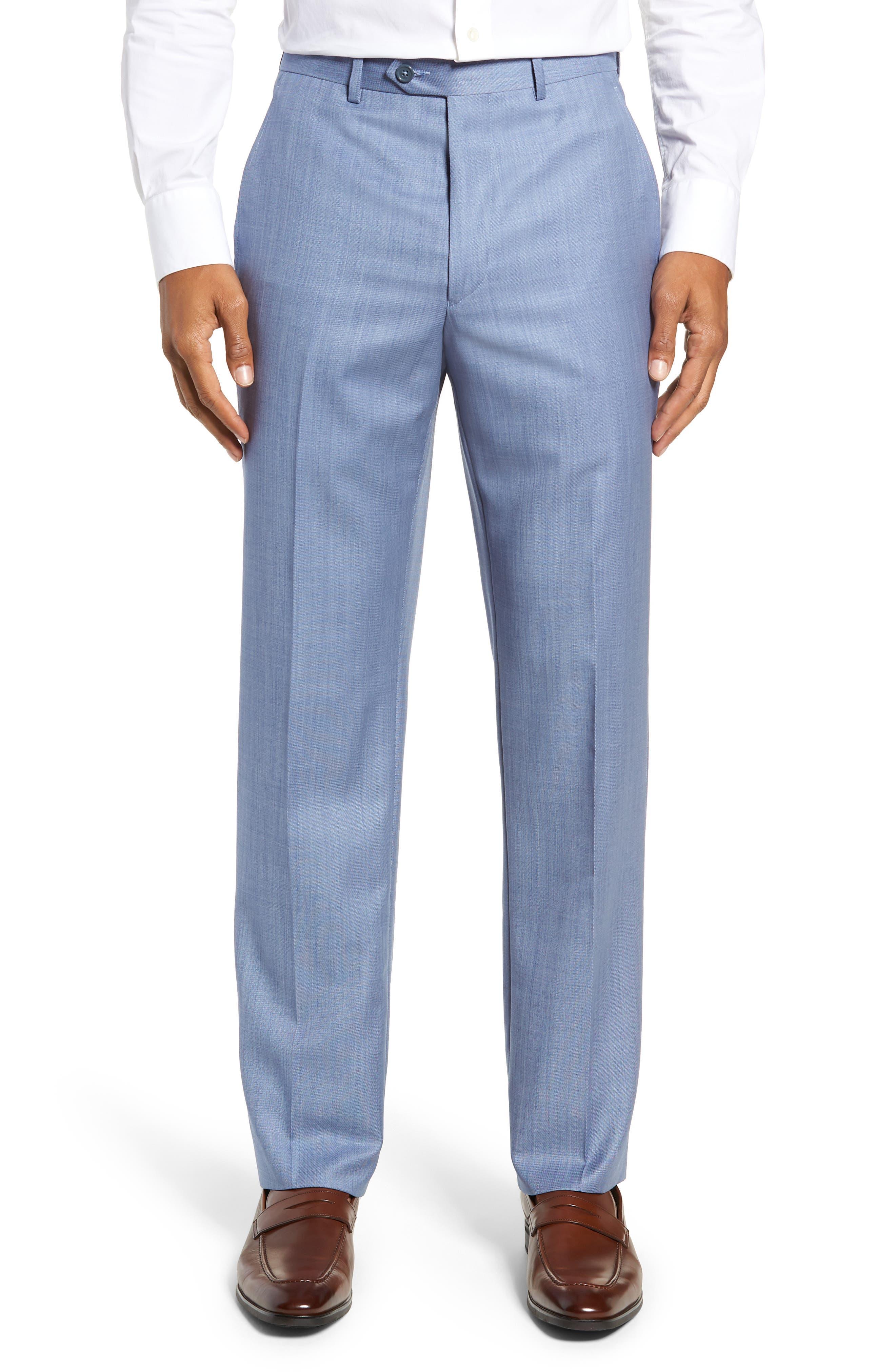 Flat Front Sharkskin Wool Trousers, Main, color, LIGHT BLUE
