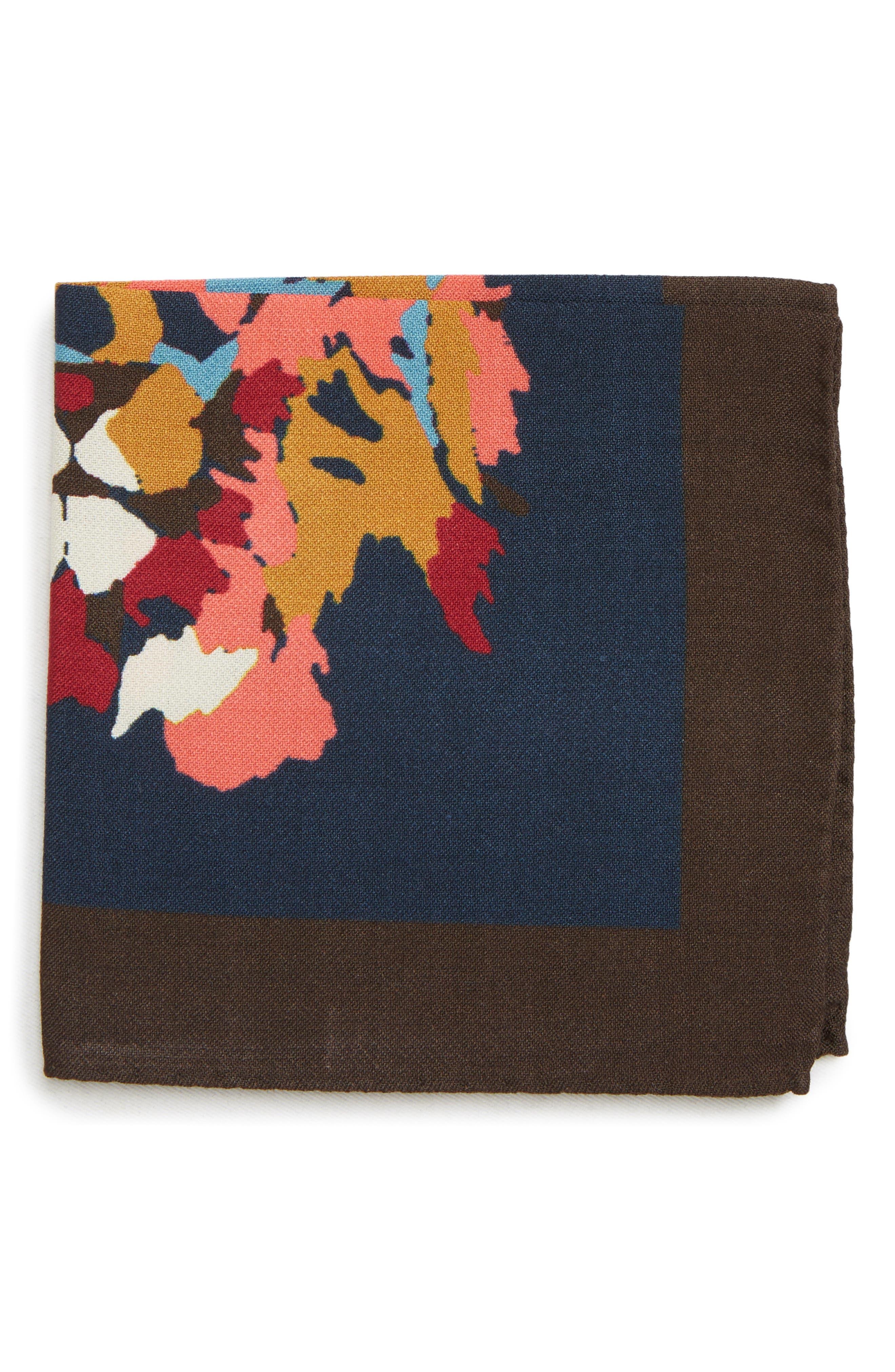 Lion Print Wool Blend Pocket Square,                         Main,                         color, LION FACE NIGHT