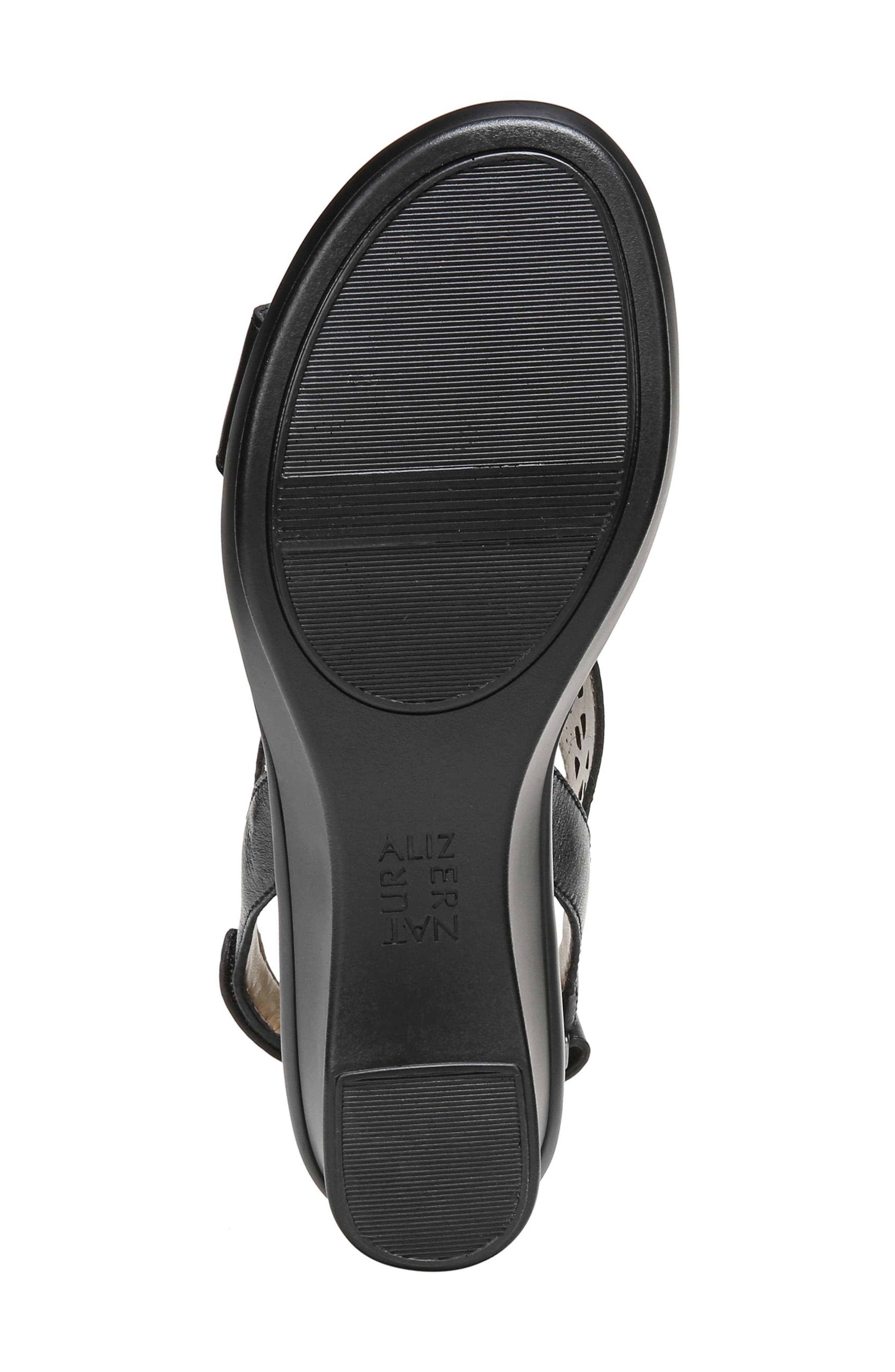 Veda Wedge Sandal,                             Alternate thumbnail 6, color,                             BLACK LEATHER