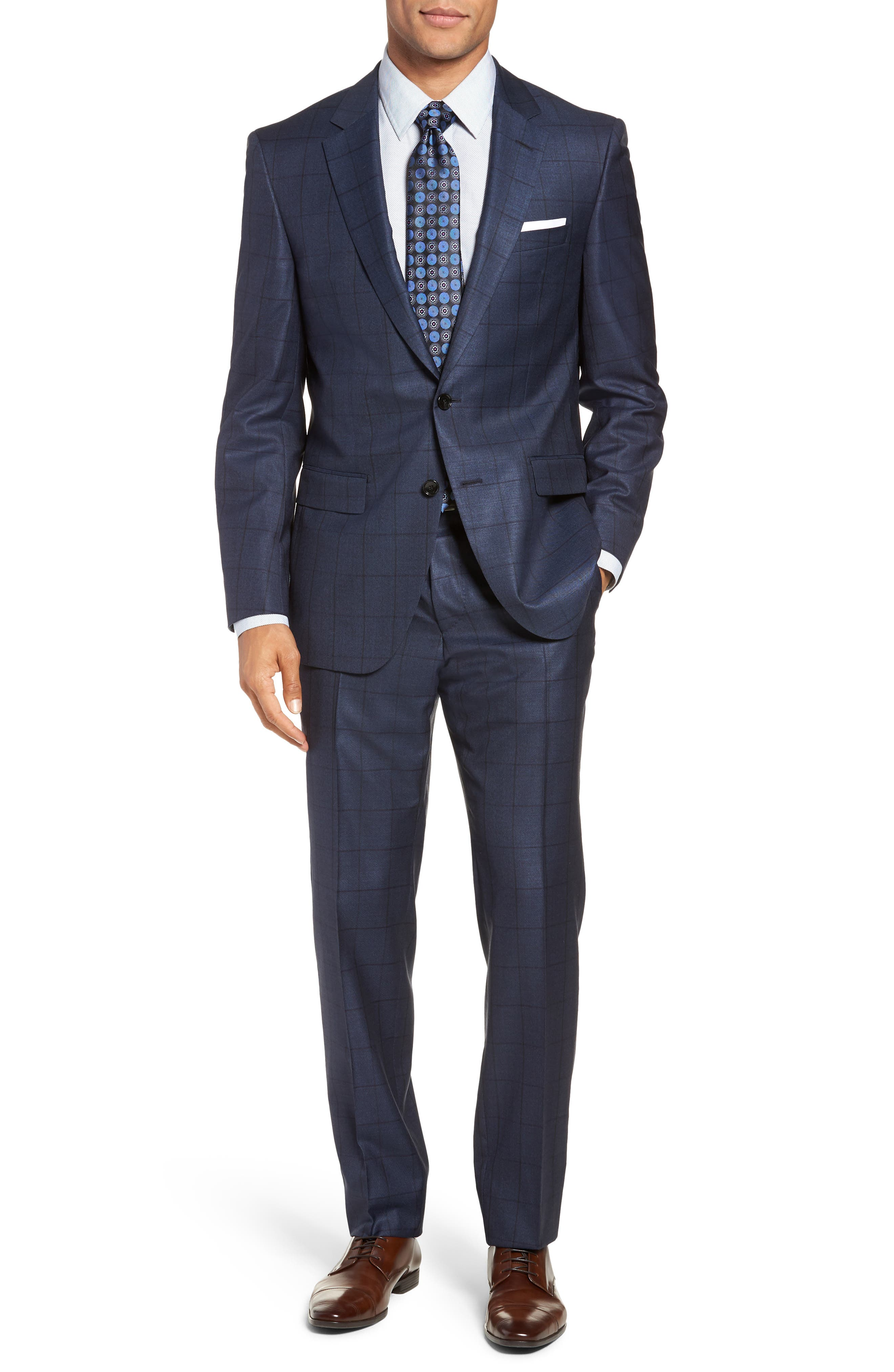 Harvers/Glover Trim Fit Windowpane Wool & Silk Suit,                             Main thumbnail 1, color,                             OPEN BLUE