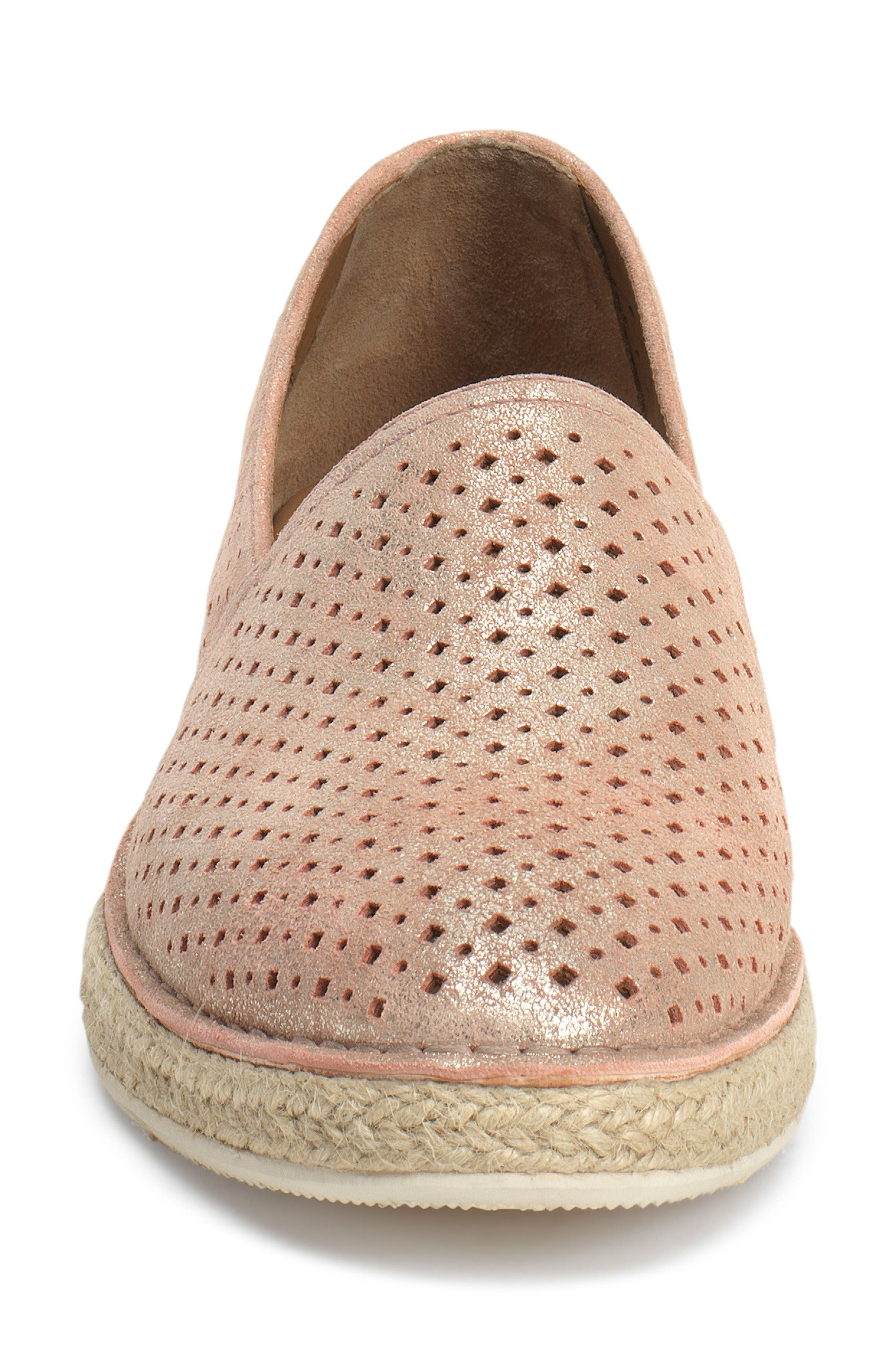 Paige Perforated Flat,                             Alternate thumbnail 4, color,                             BLUSH METALLIC SUEDE