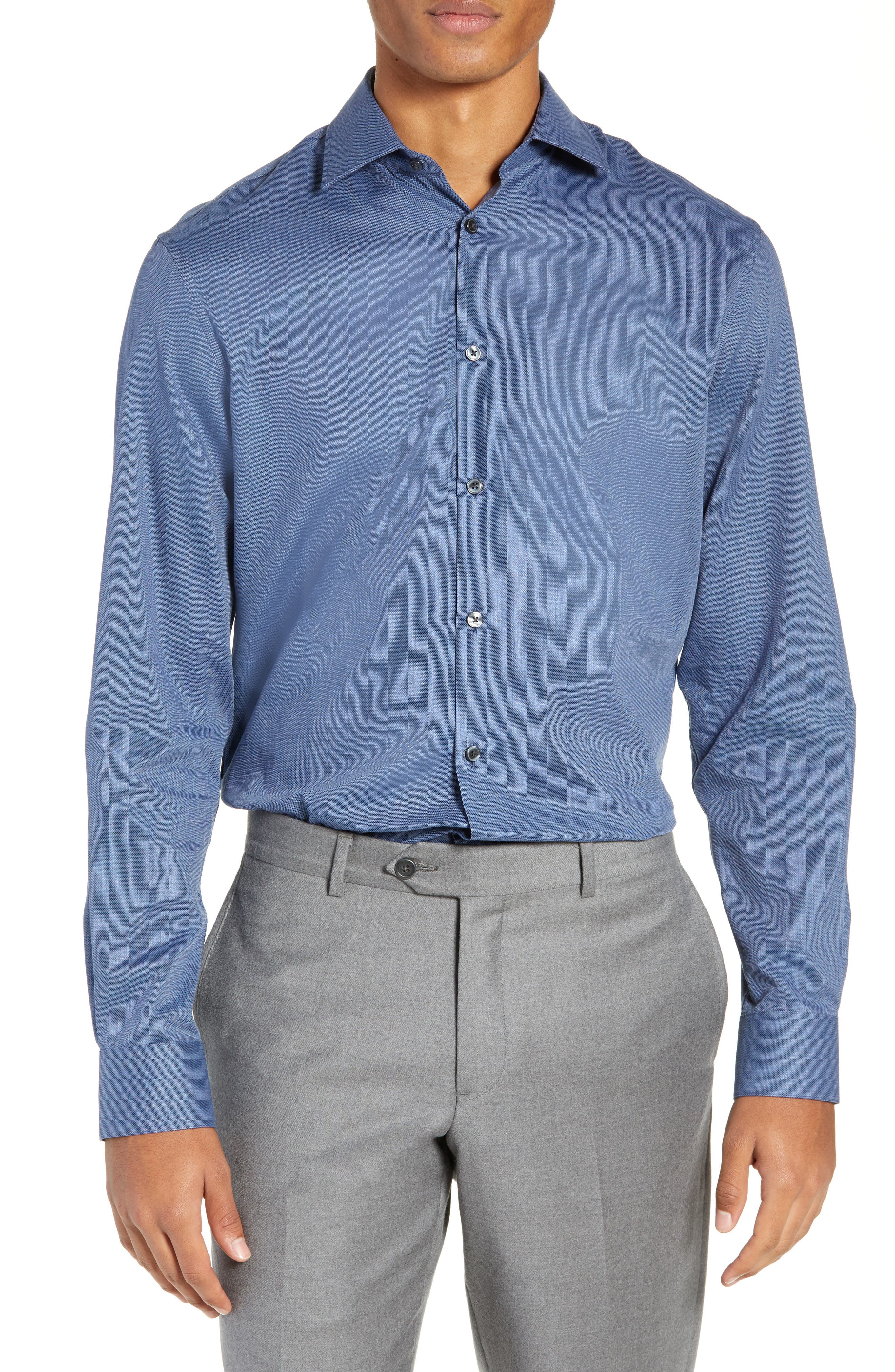 Regular Fit Solid Dress Shirt,                             Main thumbnail 1, color,                             DARK BLUE HEATHER