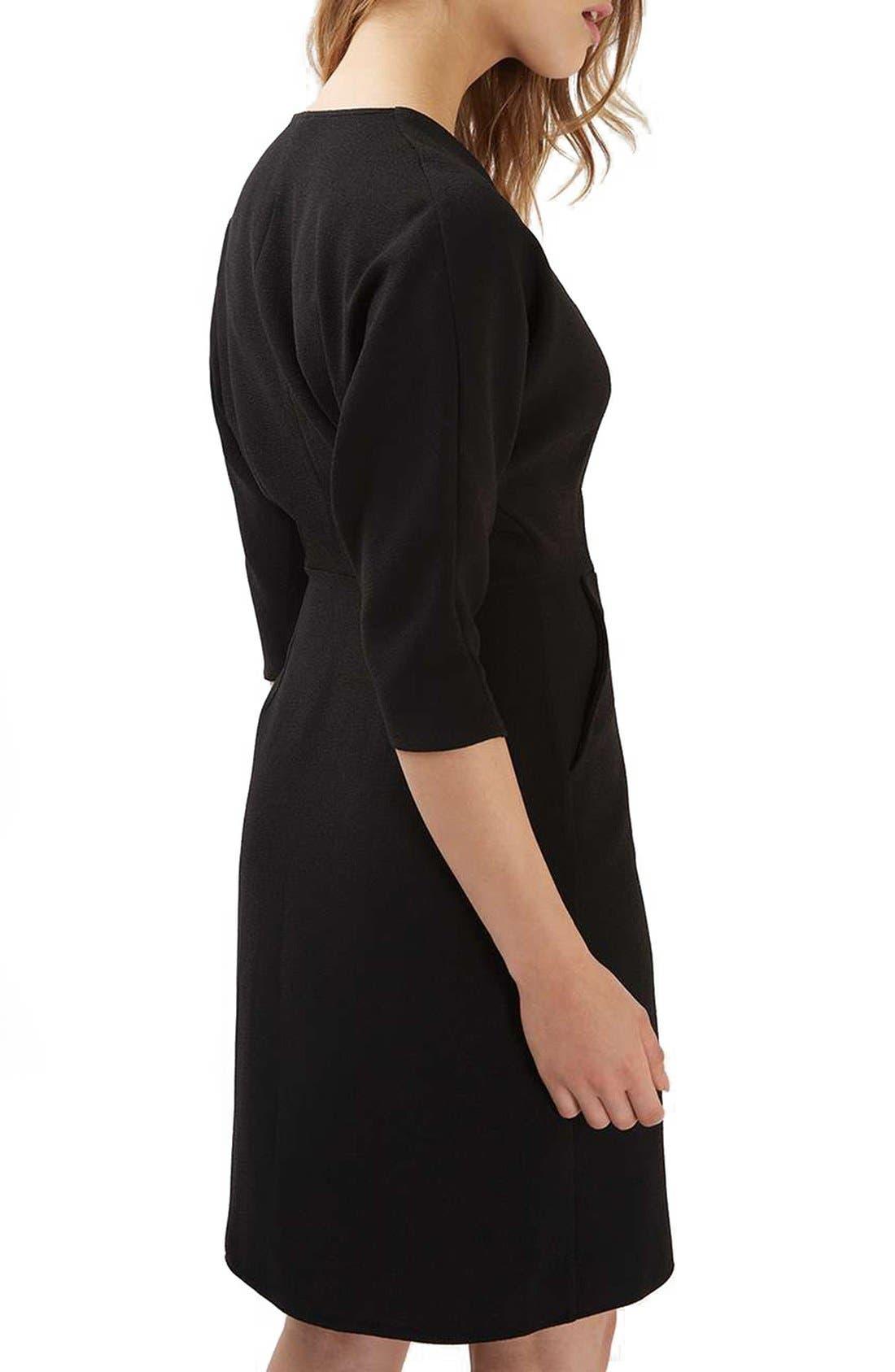 Dolman Sleeve Wrap Midi Dress,                             Alternate thumbnail 3, color,                             001