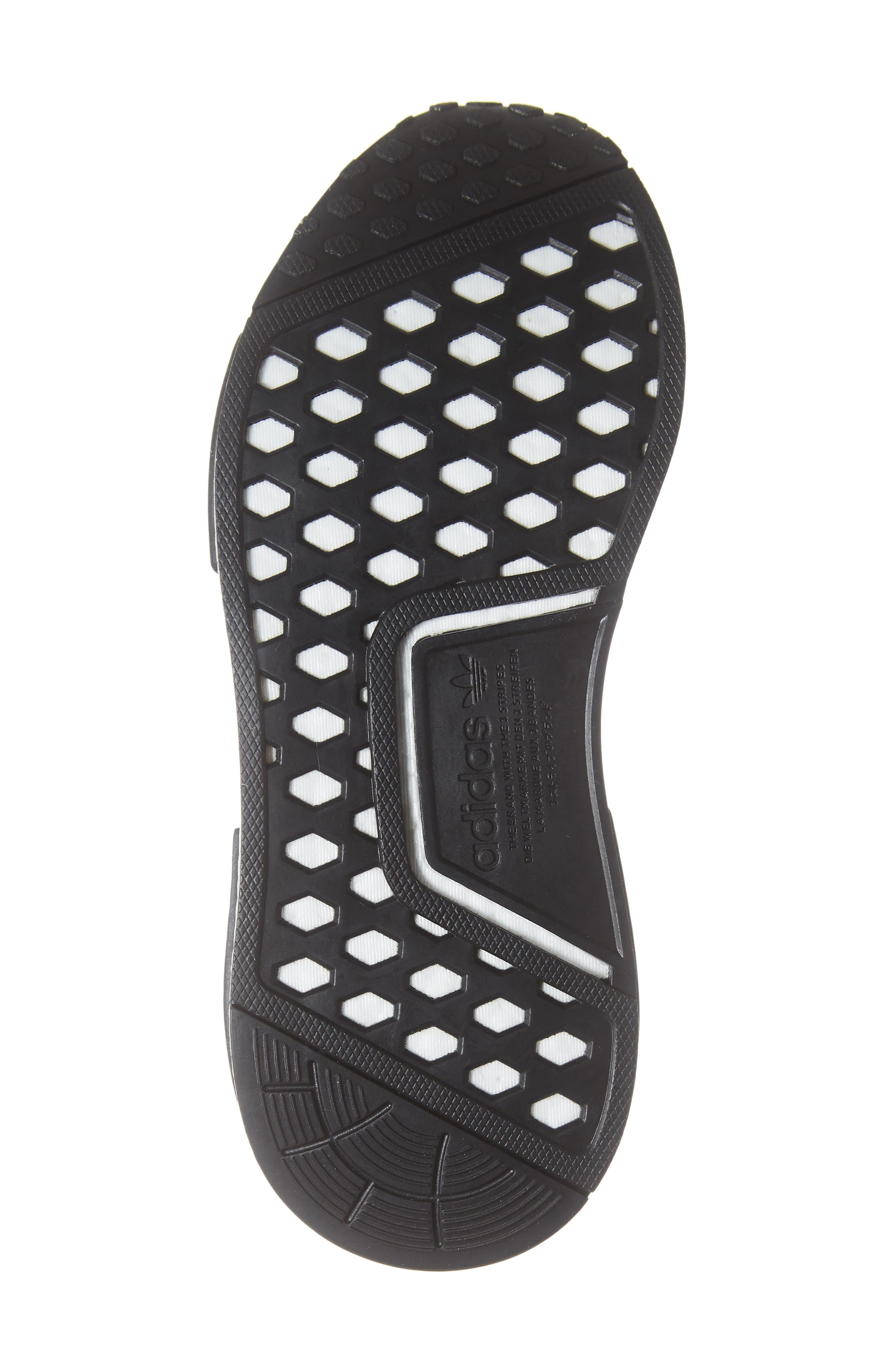 NMD R1 Sneaker,                             Alternate thumbnail 6, color,                             CORE BLACK/ BLACK/ ORCHID TINT