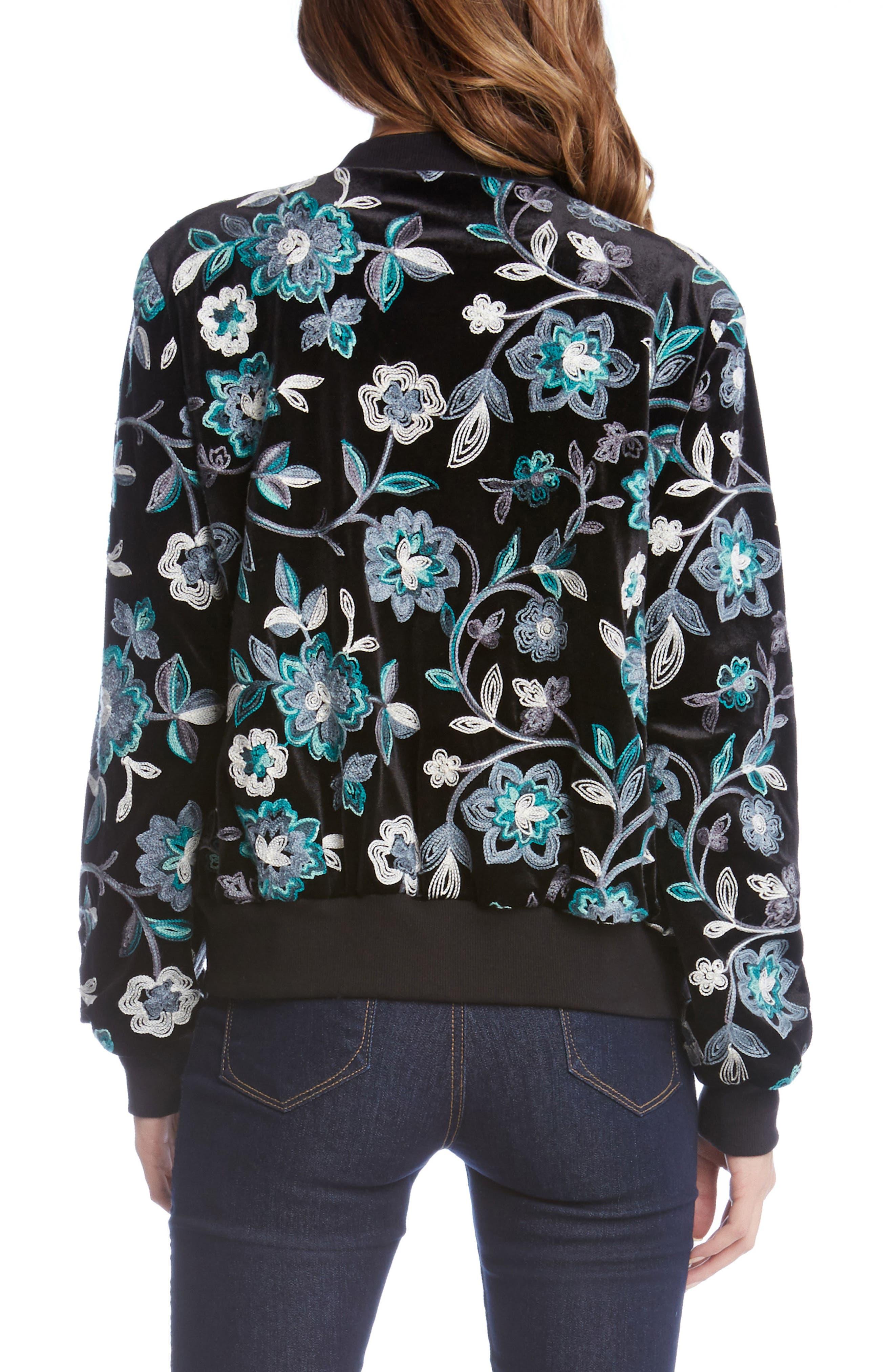 Embroidered Velvet Bomber Jacket,                             Alternate thumbnail 2, color,                             008