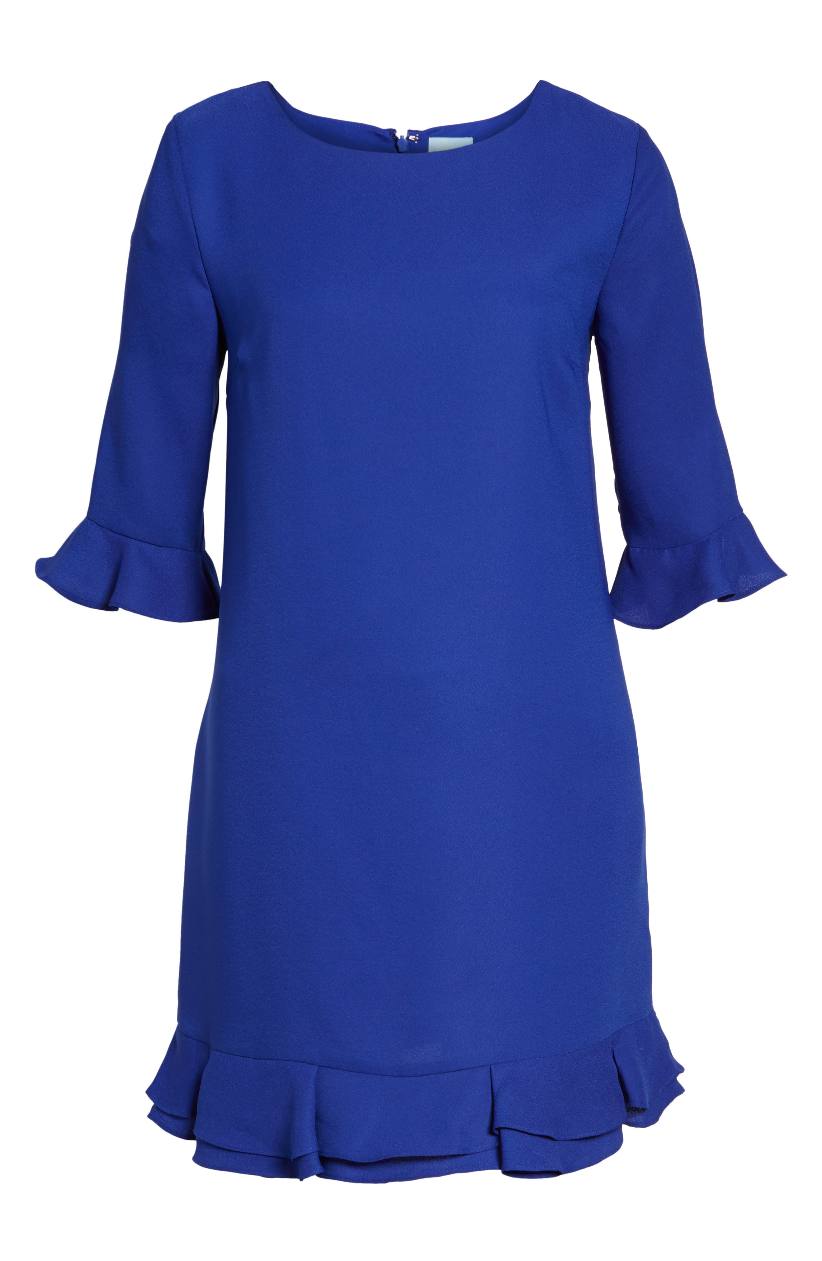 'Kate' Ruffle Hem Shift Dress,                             Alternate thumbnail 14, color,