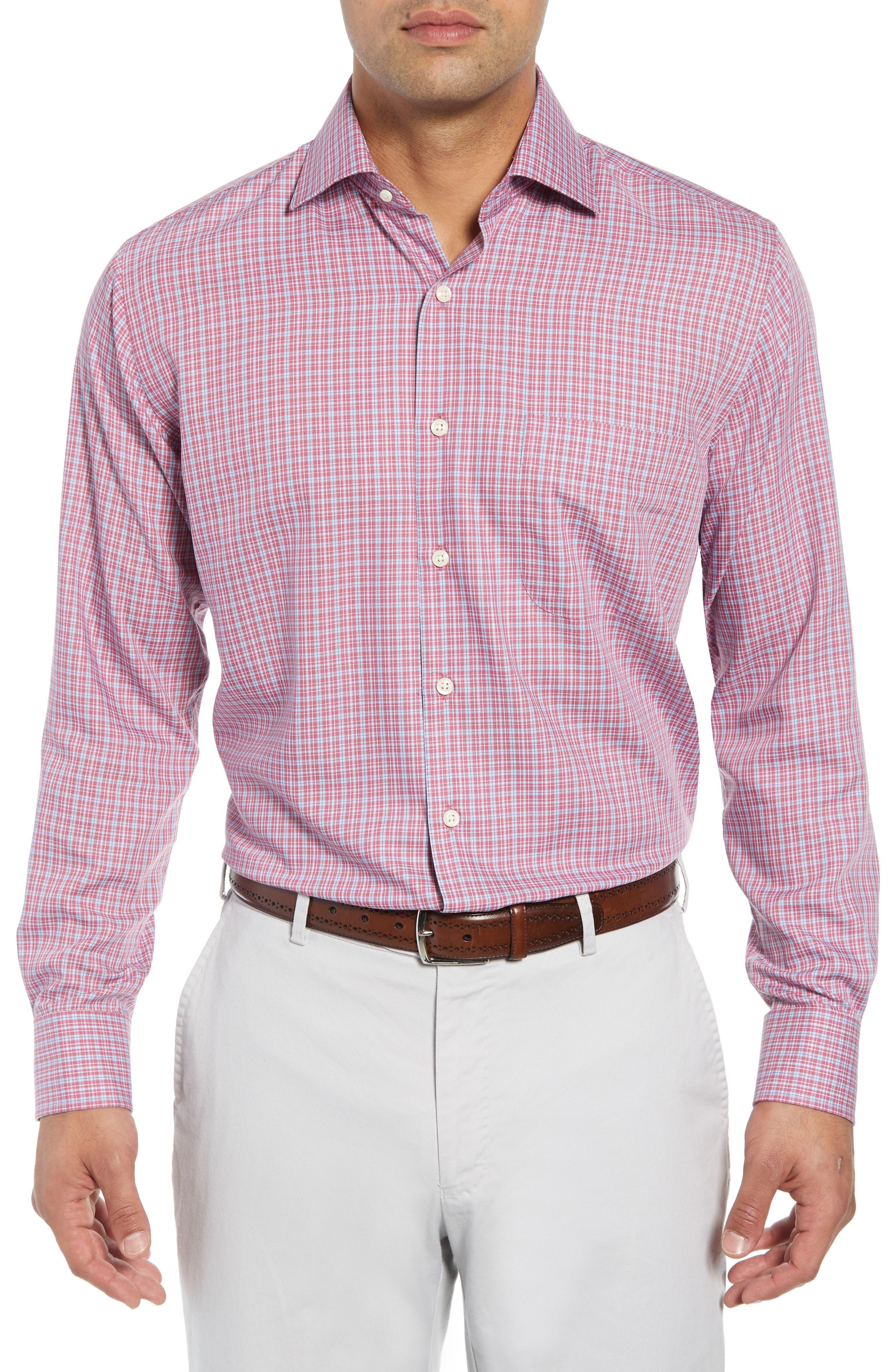 Province Regular Fit Check Sport Shirt,                         Main,                         color, PINK