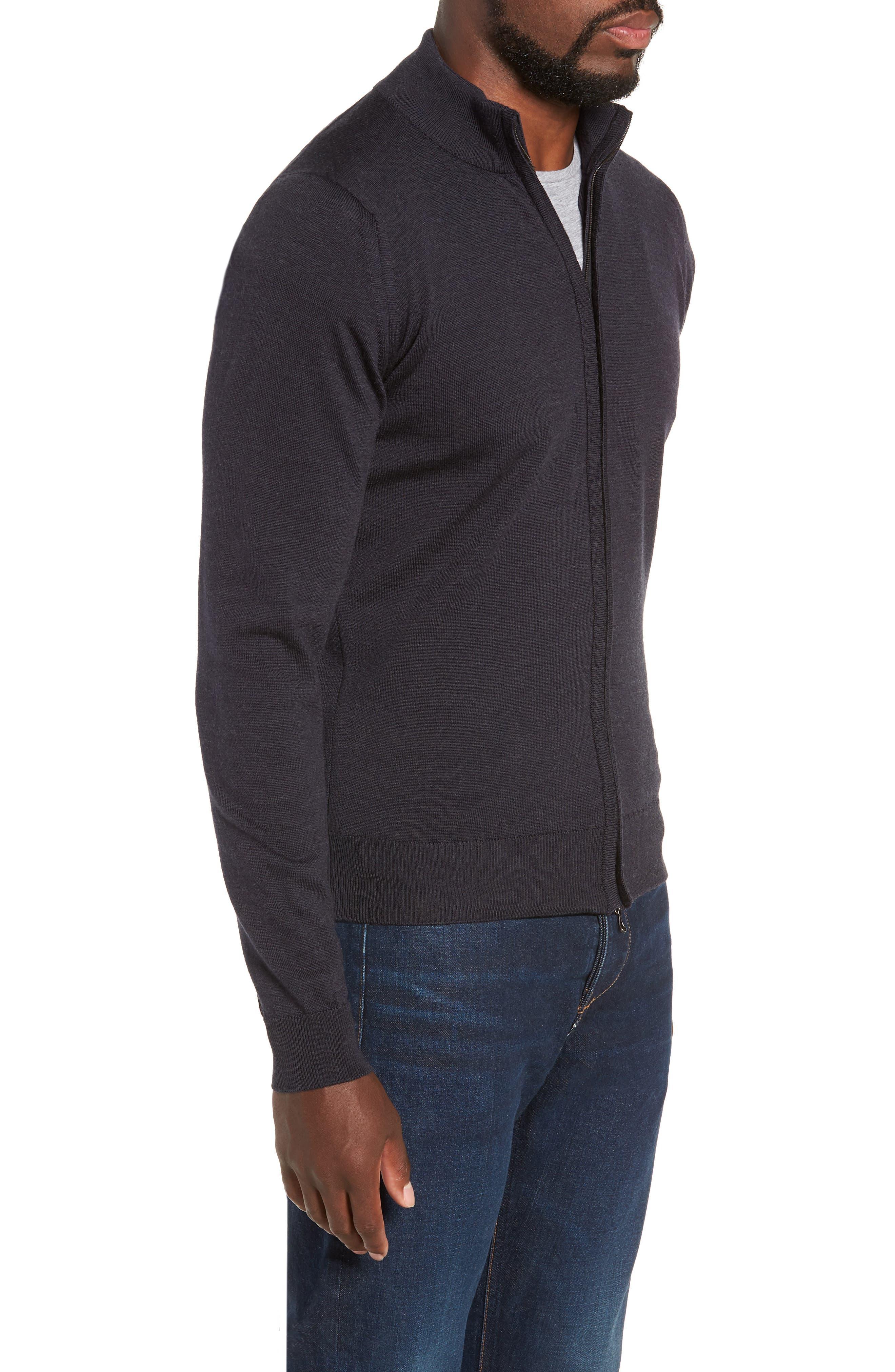 Claygate Slim Fit Merino Wool Zip Jacket,                             Alternate thumbnail 3, color,                             HEPBURN SMOKE
