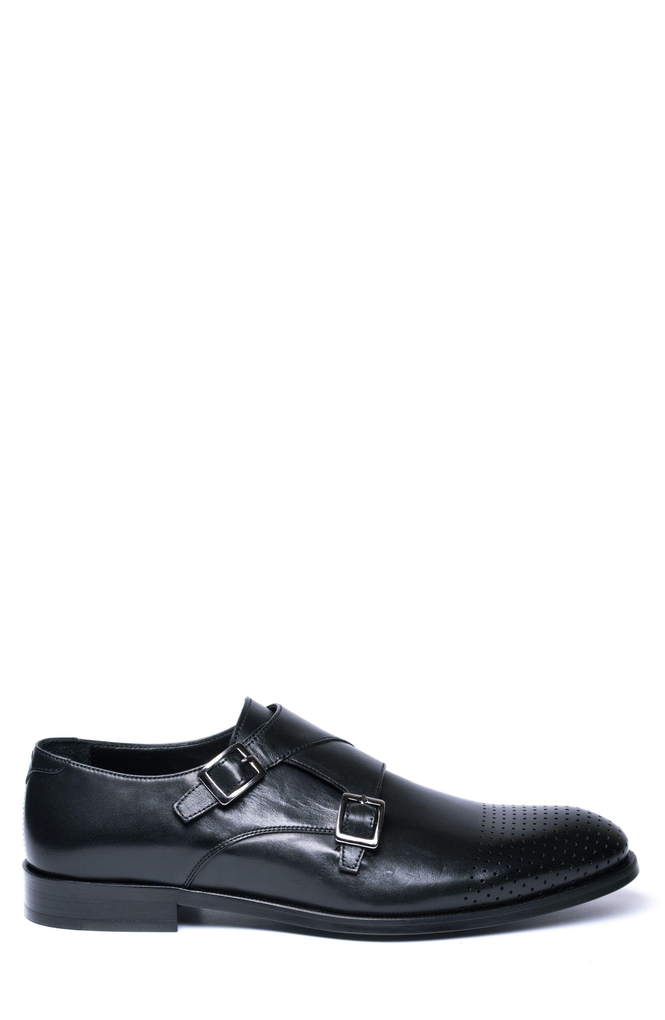 Double Buckle Monk Shoe,                             Alternate thumbnail 3, color,                             BLACK LEATHER