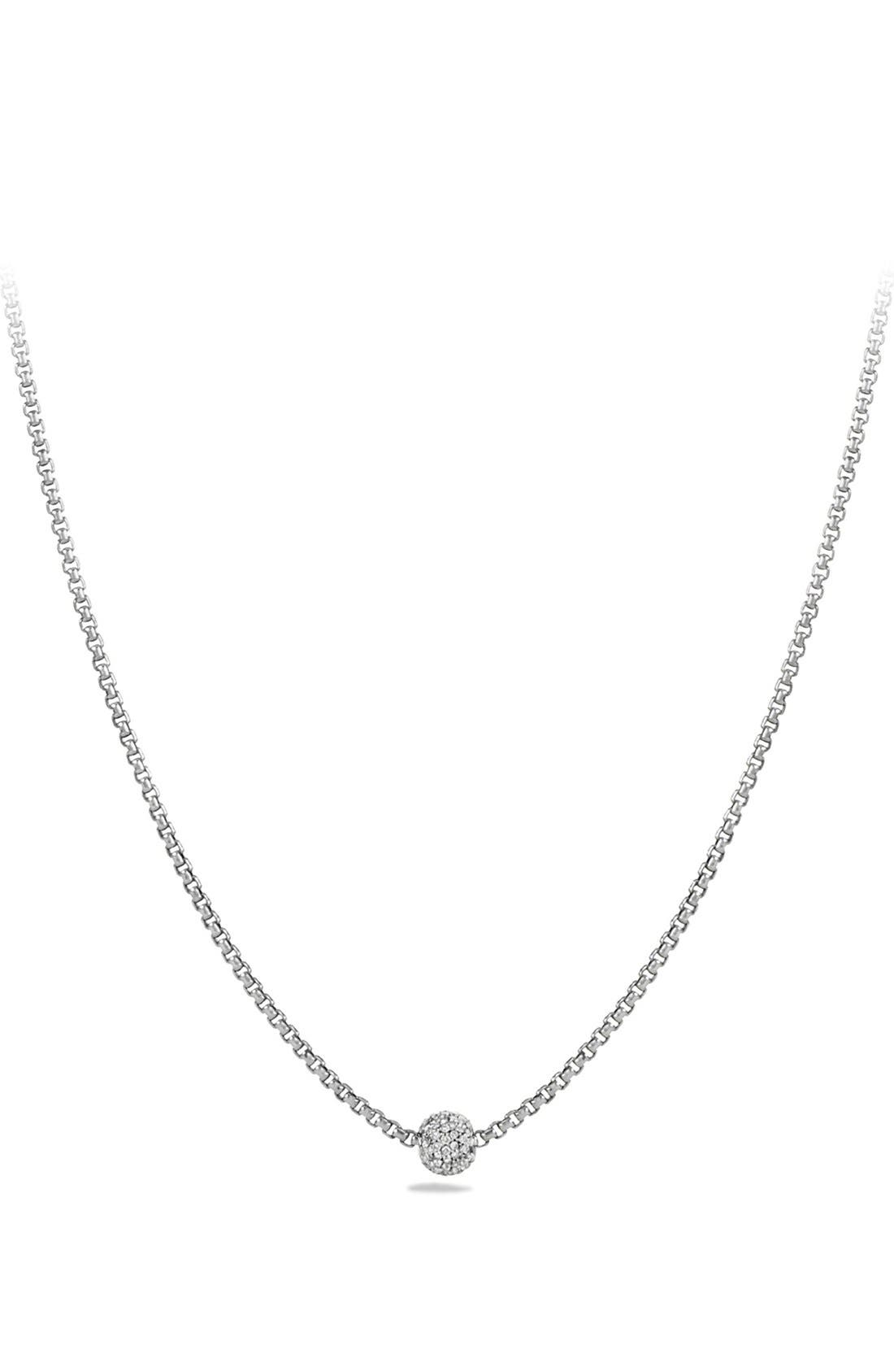 'Petite Pavé' Necklace with Diamonds,                             Main thumbnail 2, color,