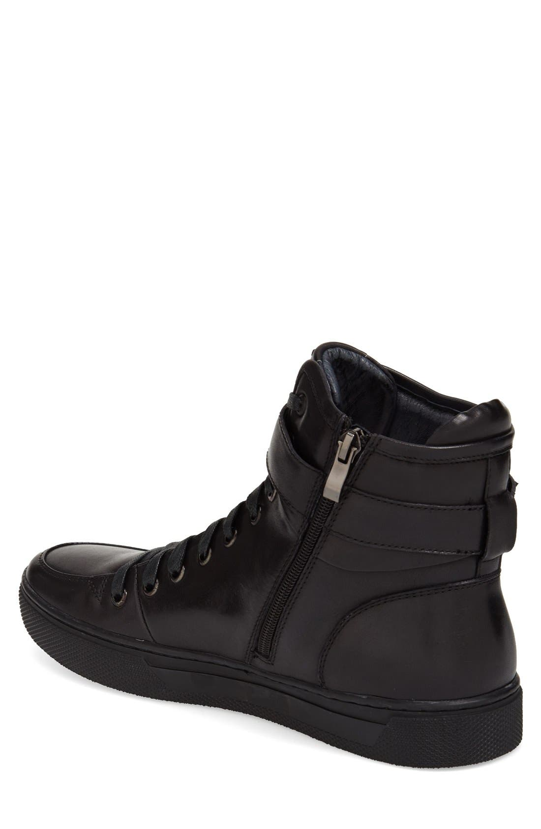 Sullivan High Top Sneaker,                             Alternate thumbnail 2, color,                             BLACK LEATHER