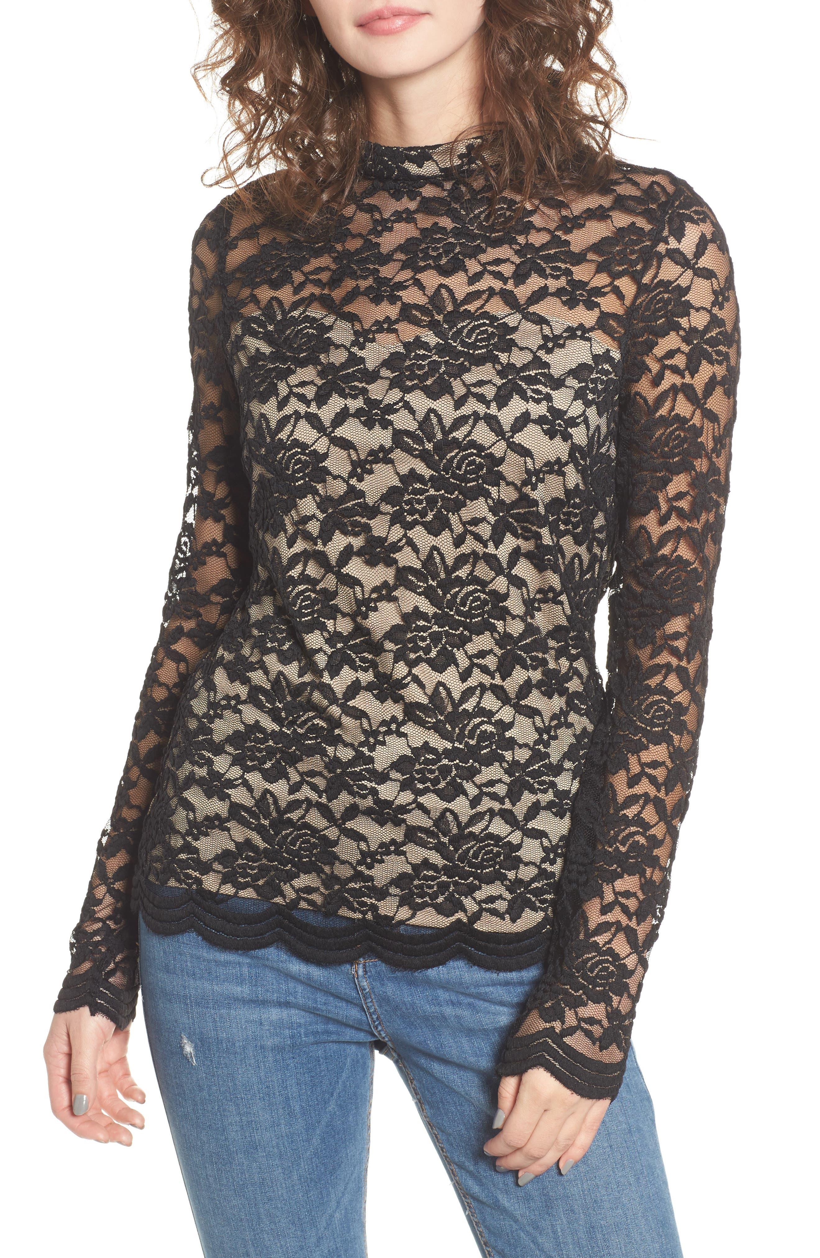 Mock Neck Lace Top,                         Main,                         color,