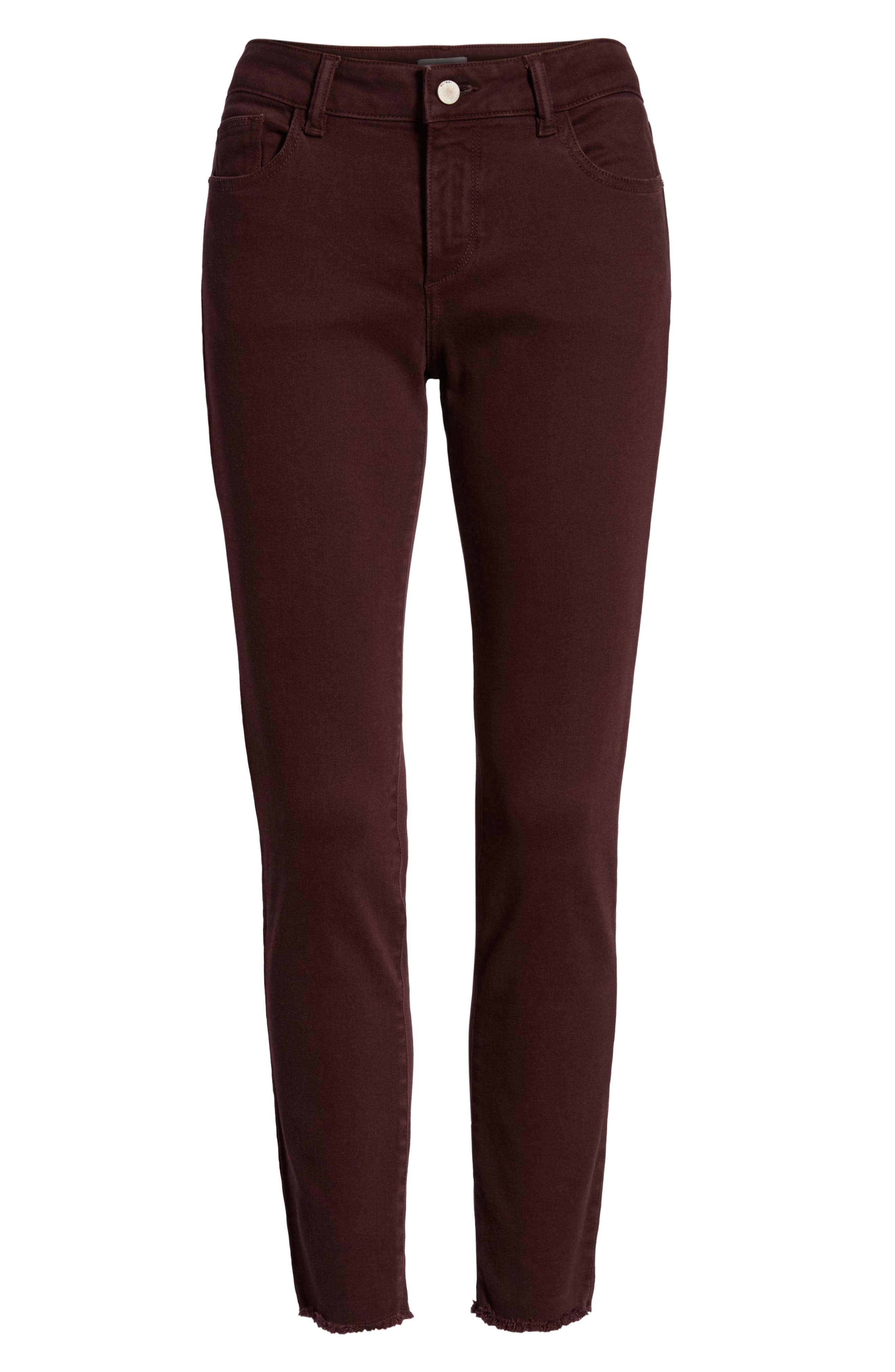 Margaux Instasculpt Ankle Skinny Jeans,                             Alternate thumbnail 7, color,                             DEEP BURGUNDY