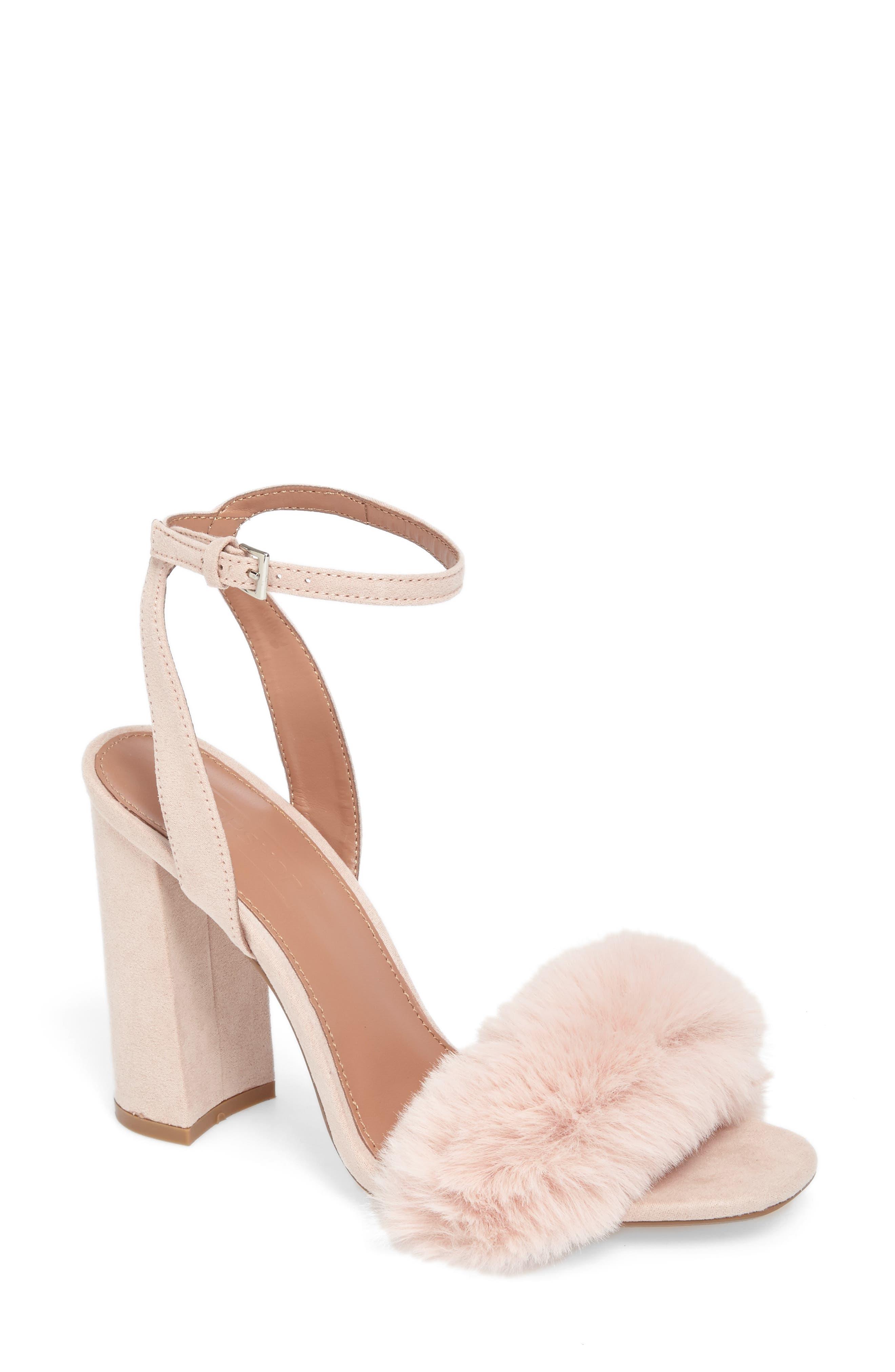 Maison Faux Fur Block Heel Sandal,                             Main thumbnail 1, color,                             250
