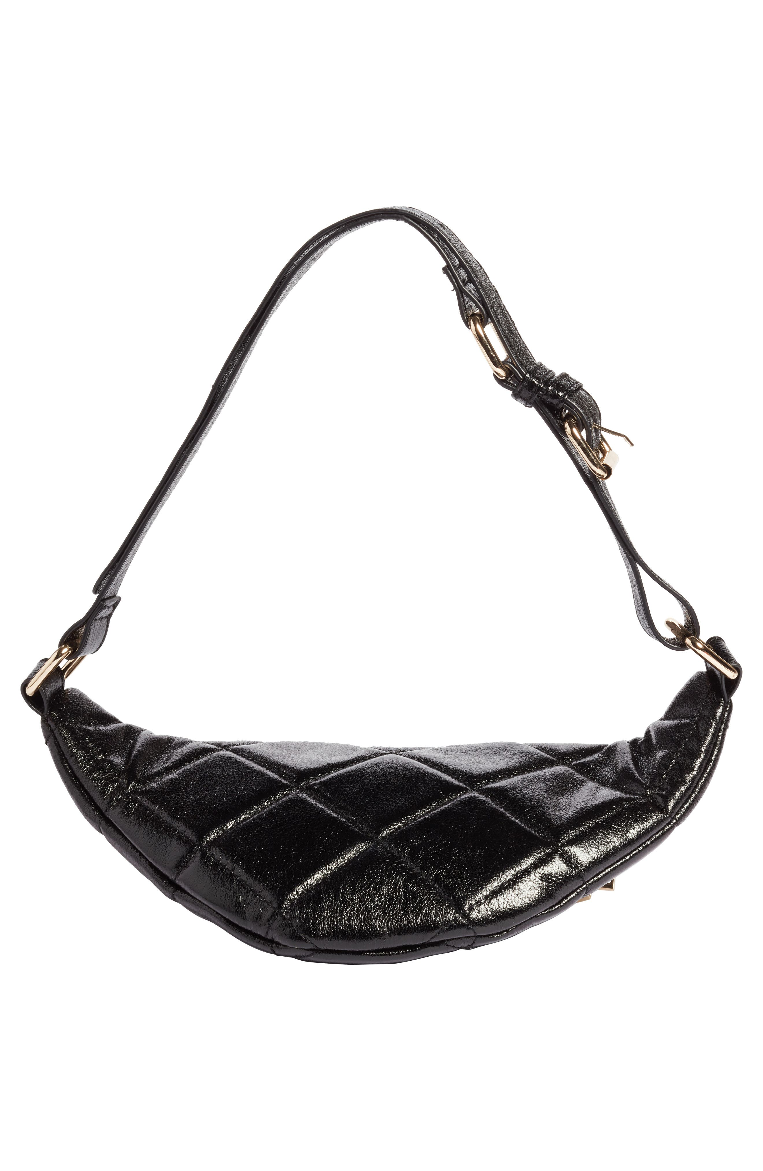 Quilted Faux Leather Belt Bag,                             Alternate thumbnail 6, color,                             001