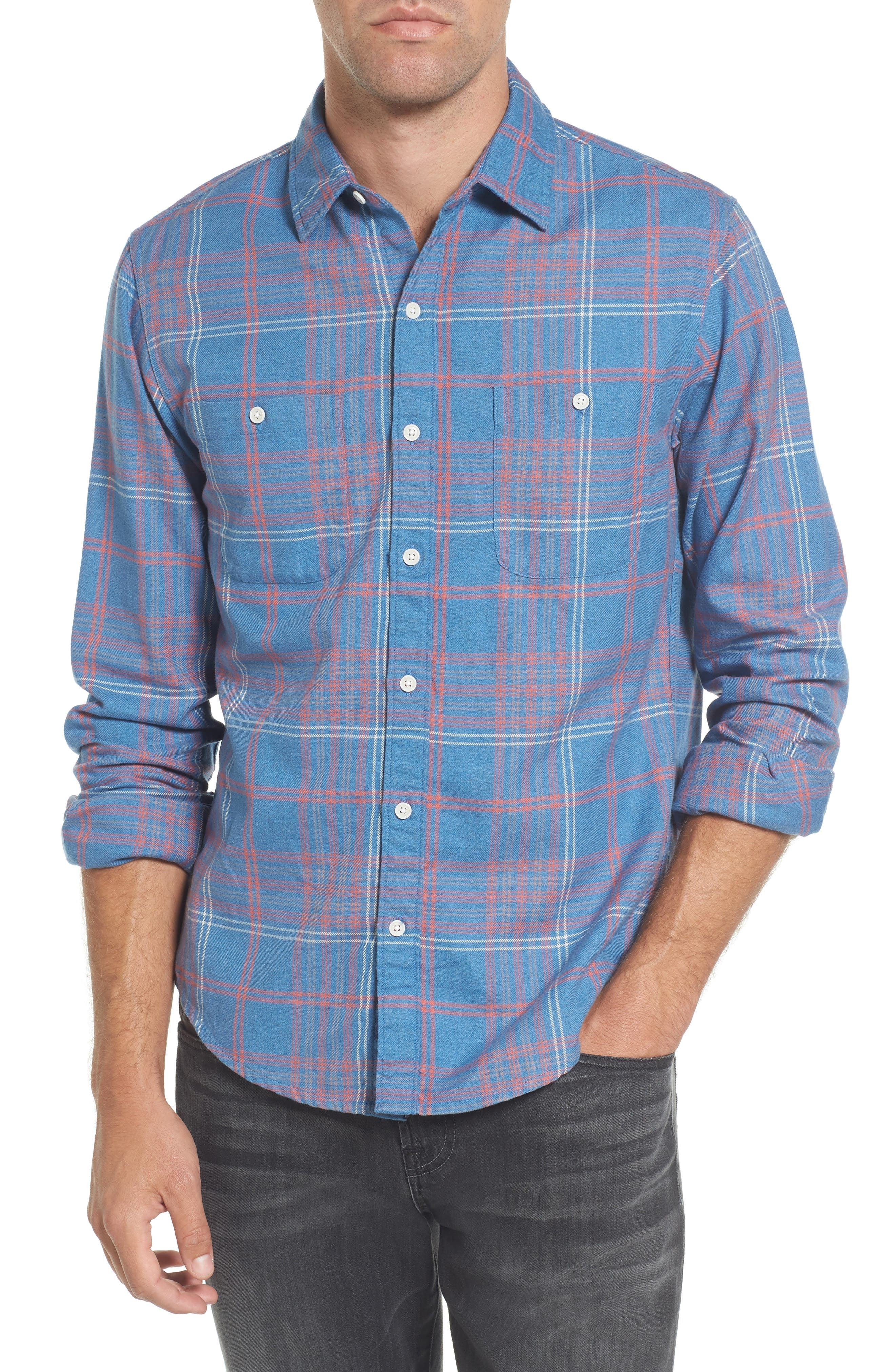 Slim Fit Plaid Flannel Sport Shirt,                         Main,                         color, 400