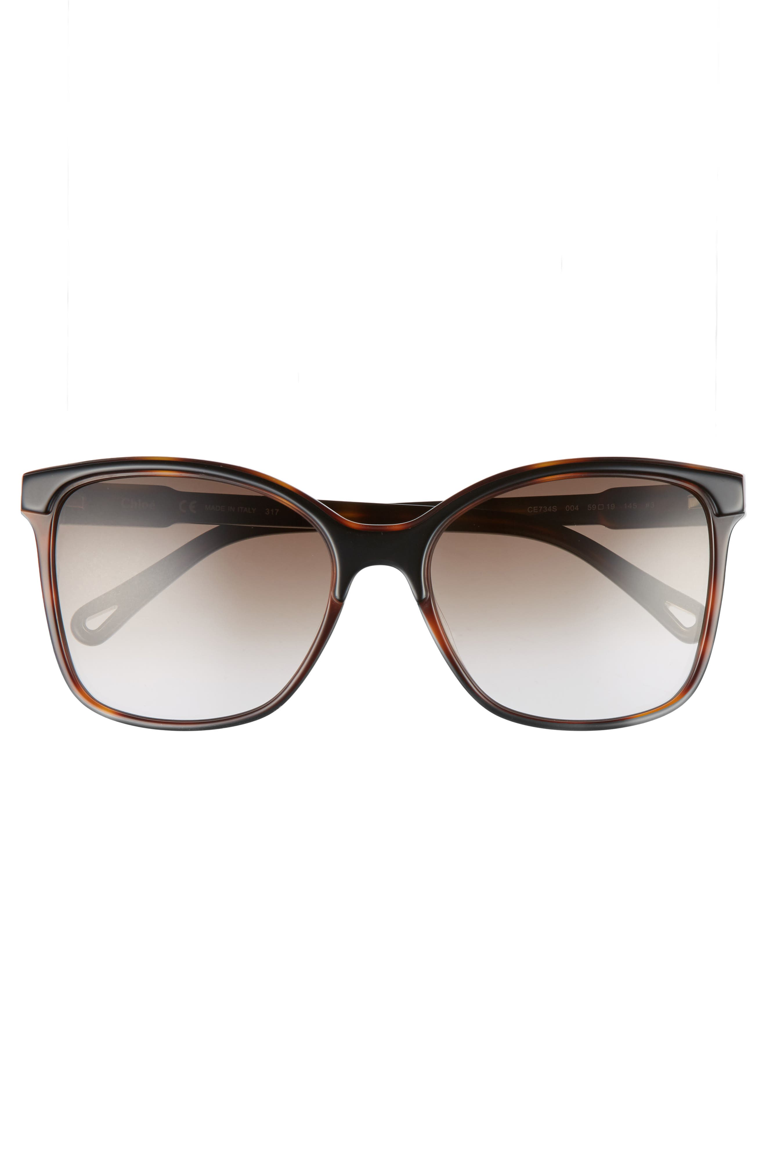 59mm Brow Bar Sunglasses,                             Alternate thumbnail 3, color,                             004
