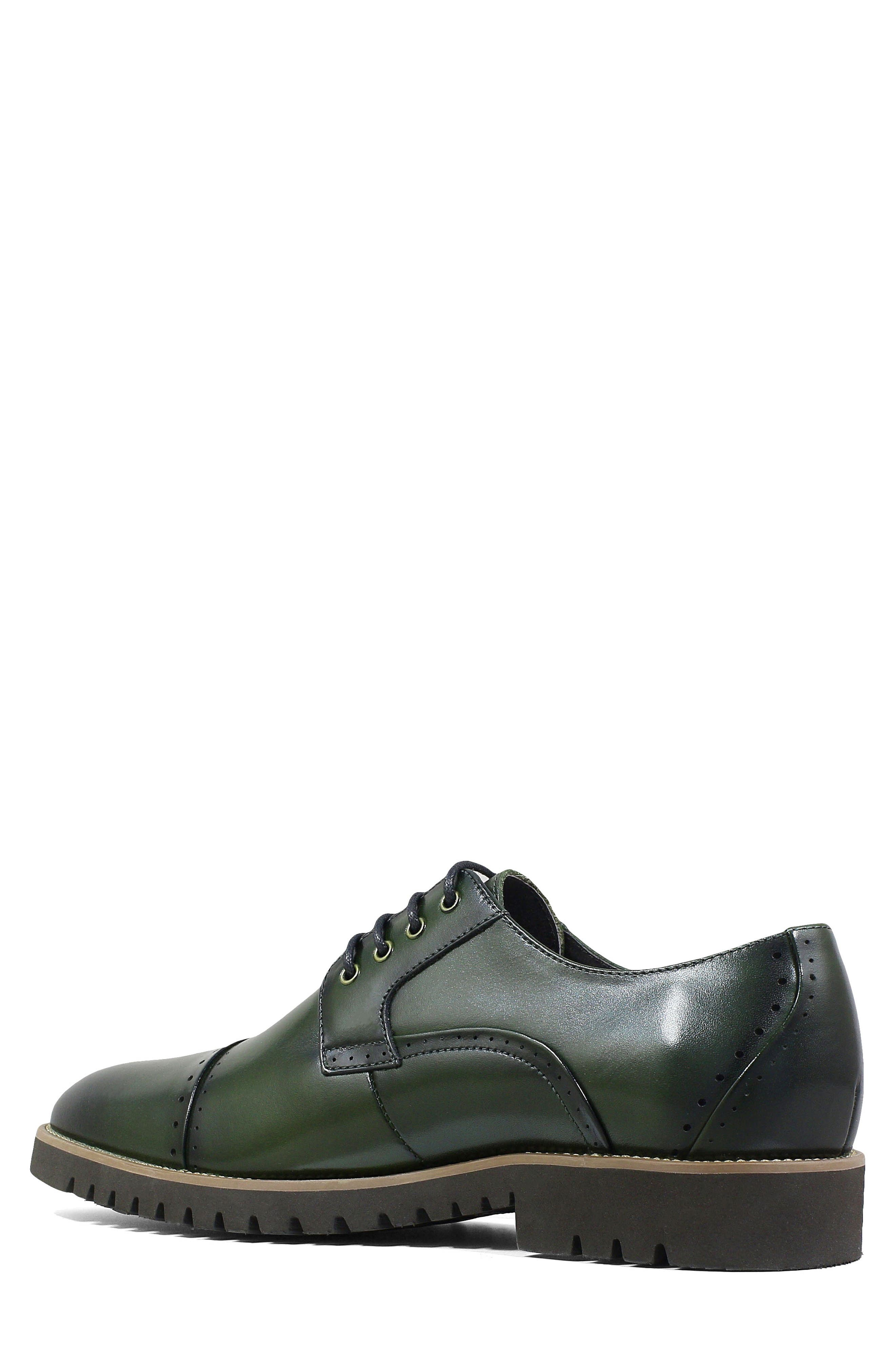 Barcliff Cap Toe Derby,                             Alternate thumbnail 2, color,                             CARGO GREEN LEATHER