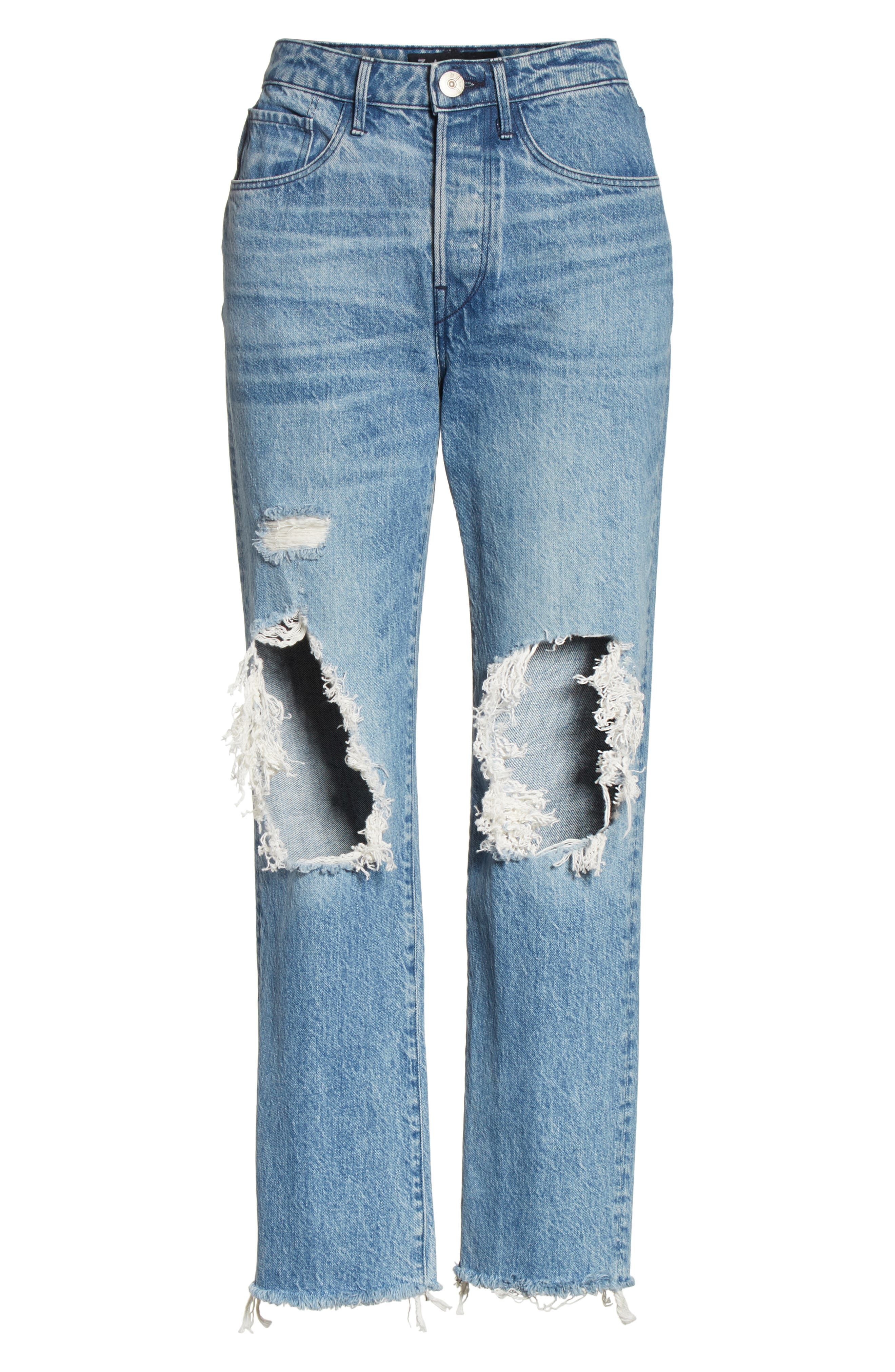 3X1 NYC,                             W3 Higher Ground Ripped Crop Boyfriend Jeans,                             Alternate thumbnail 6, color,                             423
