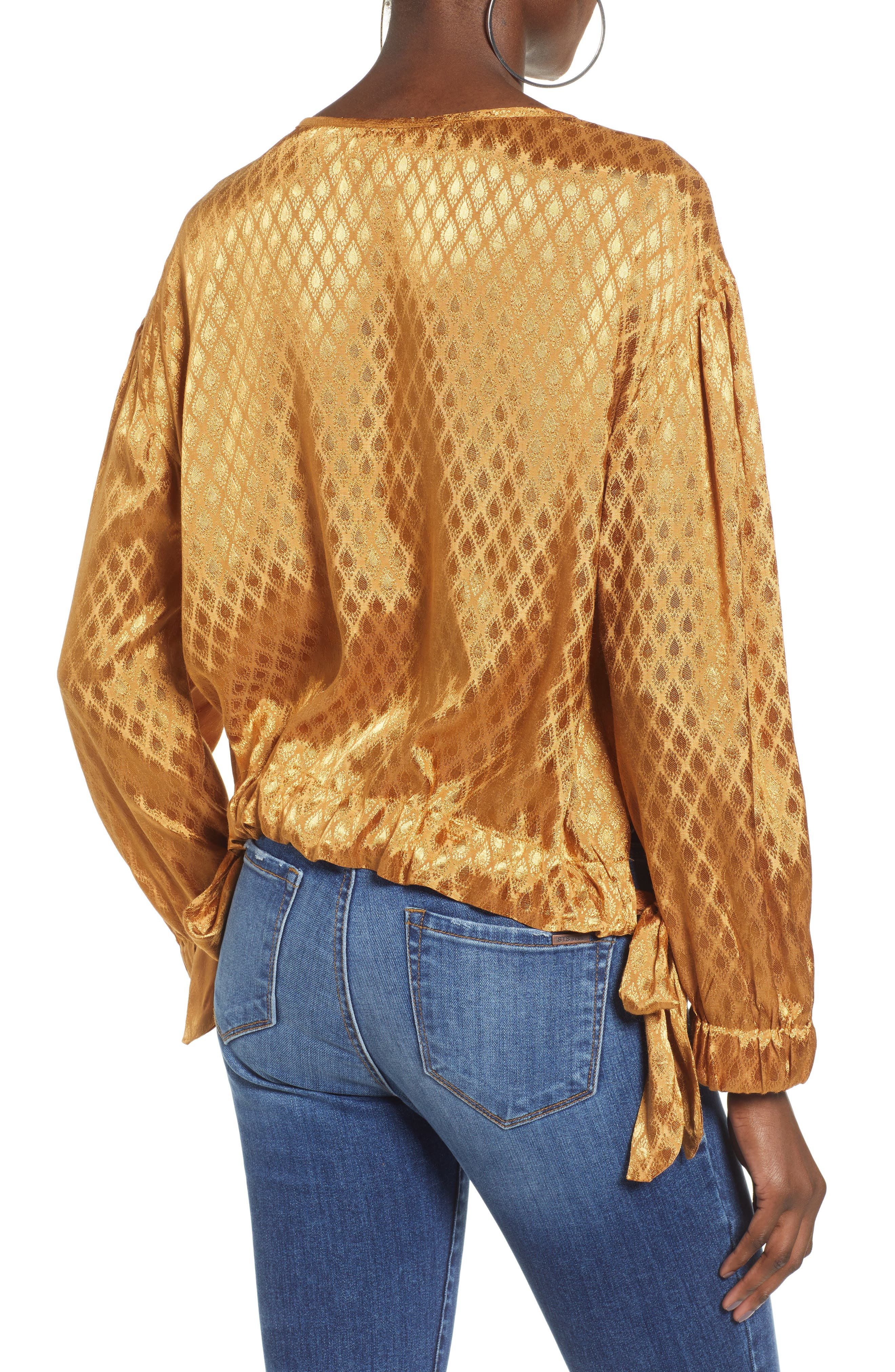 Reed Jacquard Top,                             Alternate thumbnail 2, color,                             GOLD