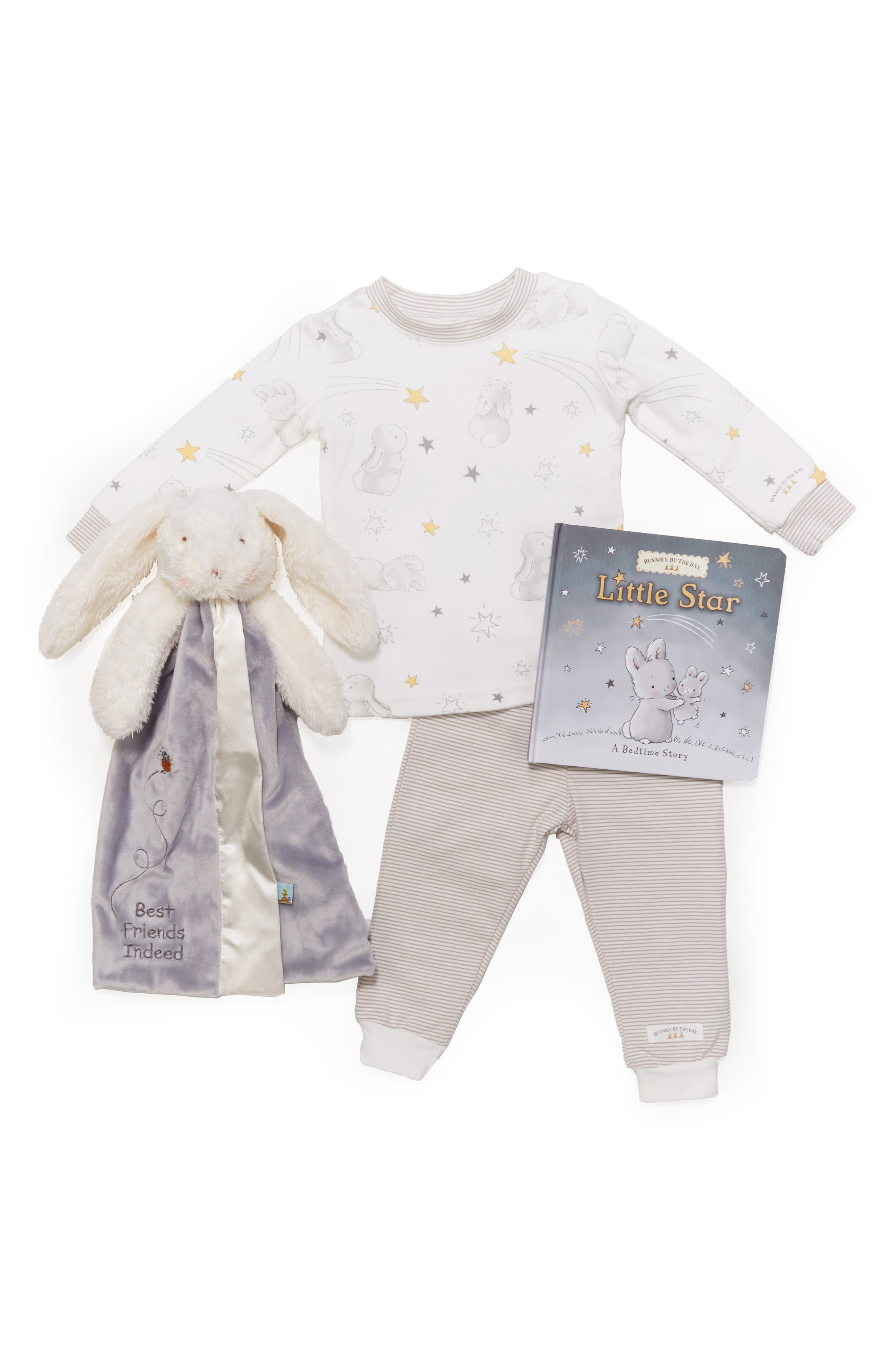 BUNNIES BY THE BAY,                             Twinkle Sleepy Baby Fitted Pajamas, Animal Buddy Blanket & Board Book Set,                             Alternate thumbnail 2, color,                             GREY