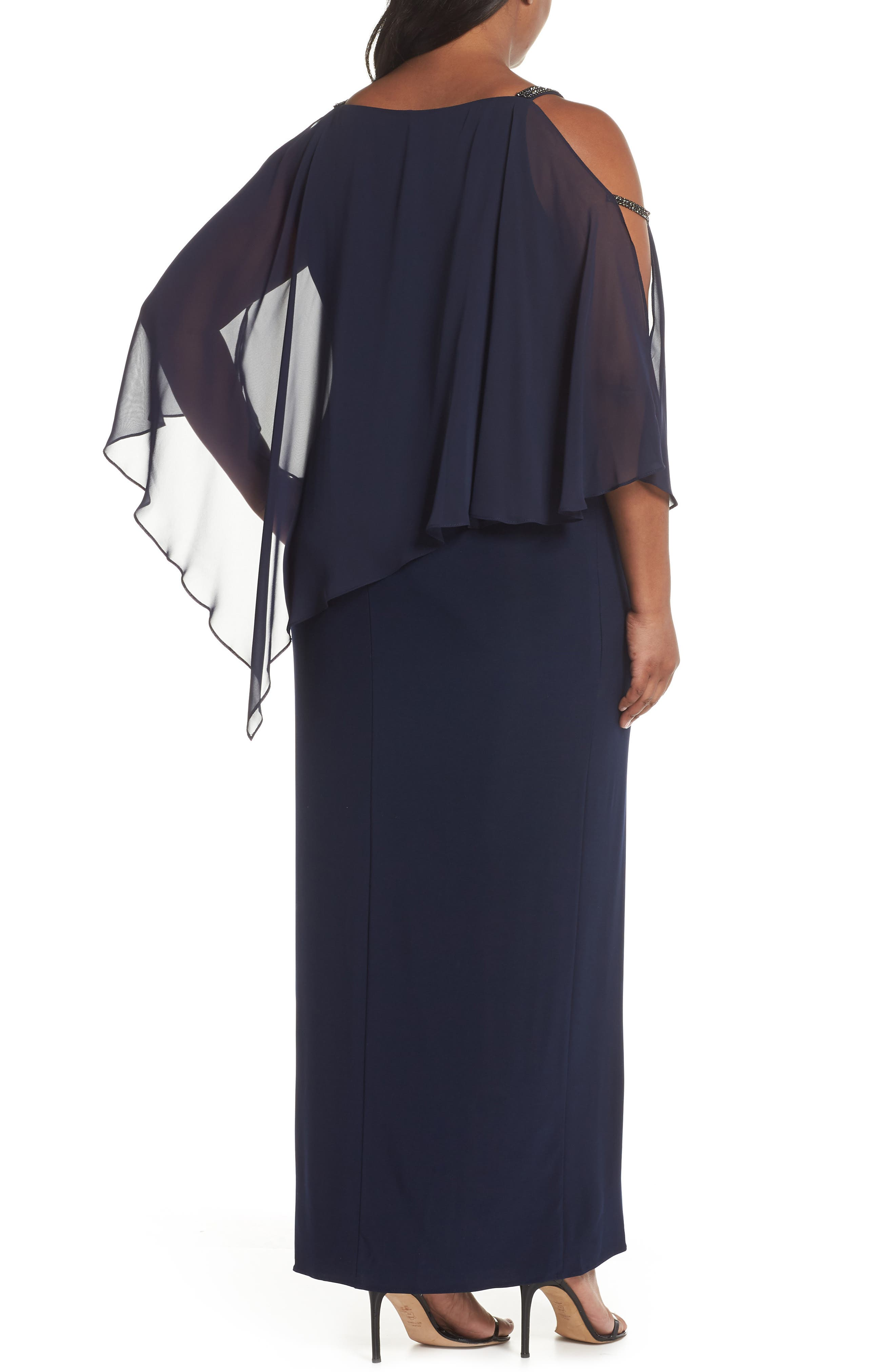 Chiffon Overlay Split Sleeve Gown,                             Alternate thumbnail 2, color,                             NAVY