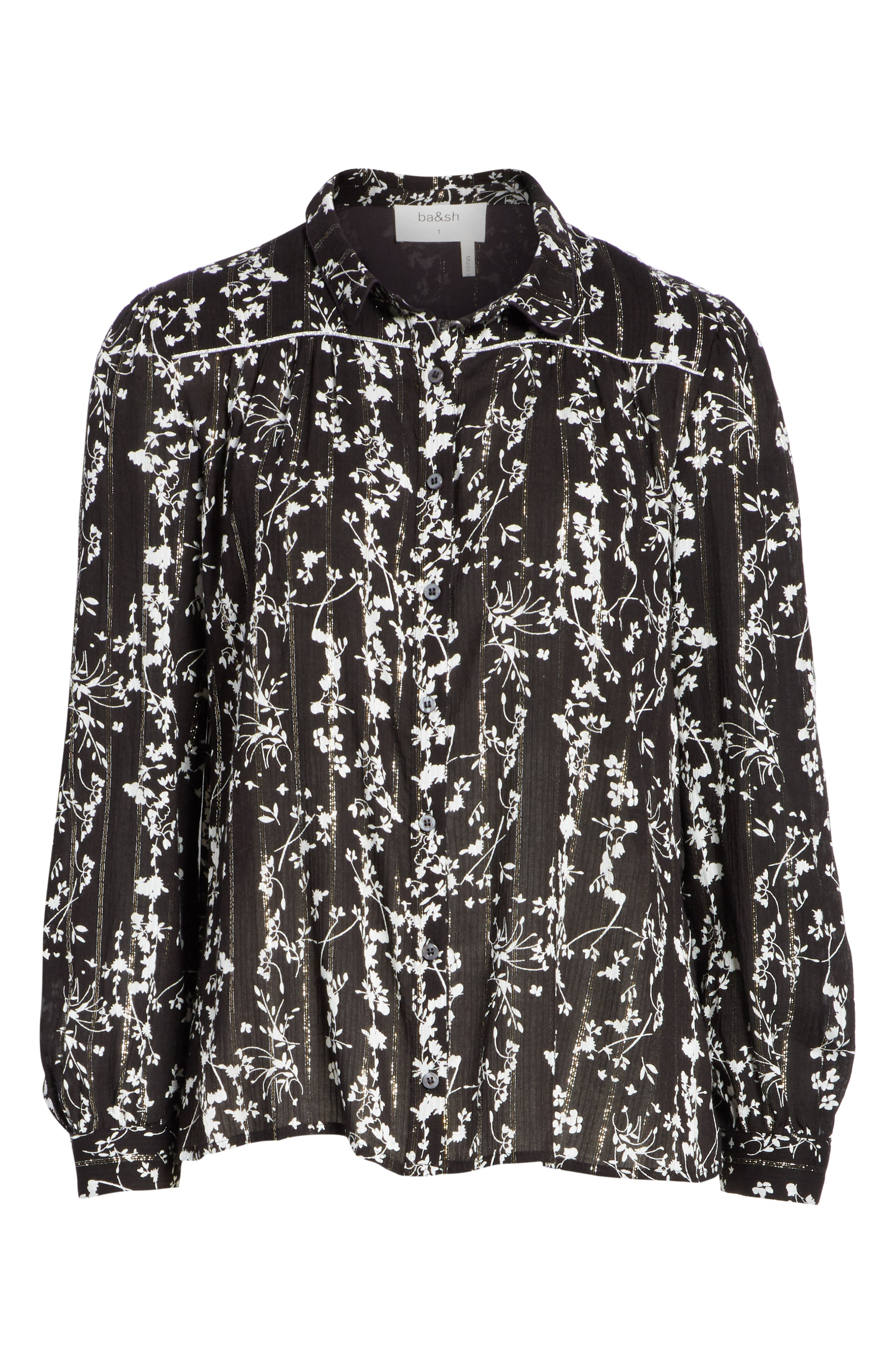 Fiona Metallic Accent Floral Top,                             Alternate thumbnail 6, color,                             BLACK