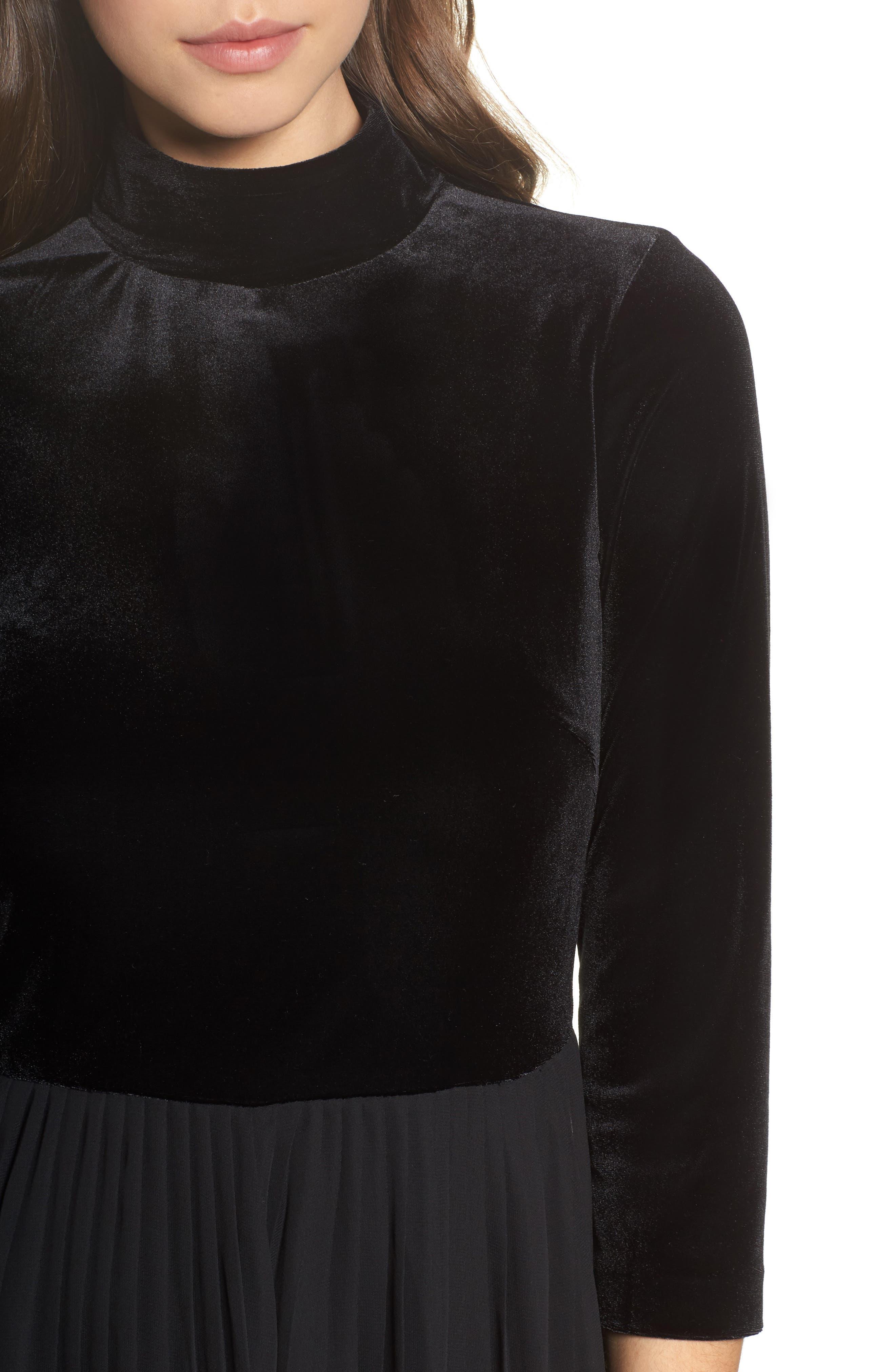 Velvet Mock Neck Dress,                             Alternate thumbnail 4, color,                             002