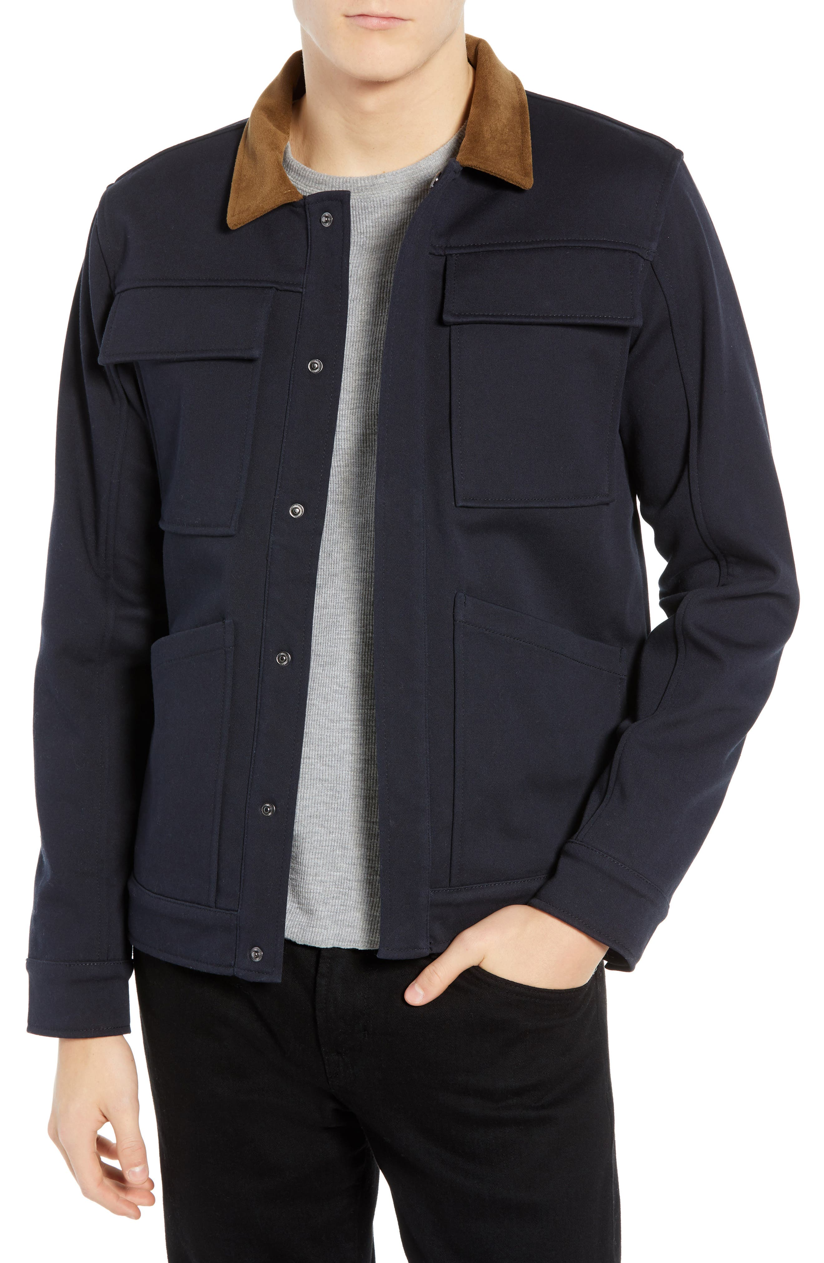 Velour Collar Trucker Jacket,                         Main,                         color, NAVY
