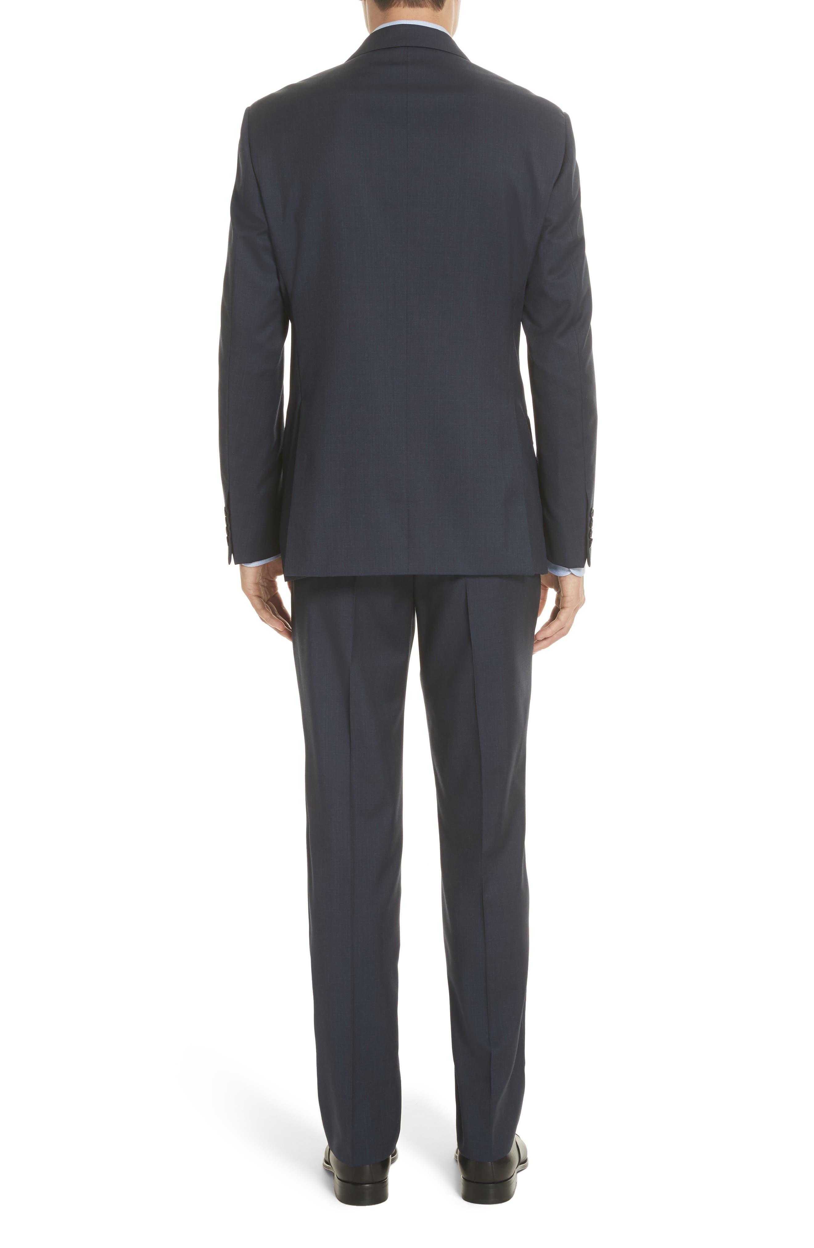 Trim Fit Sharkskin Wool Suit,                             Alternate thumbnail 4, color,