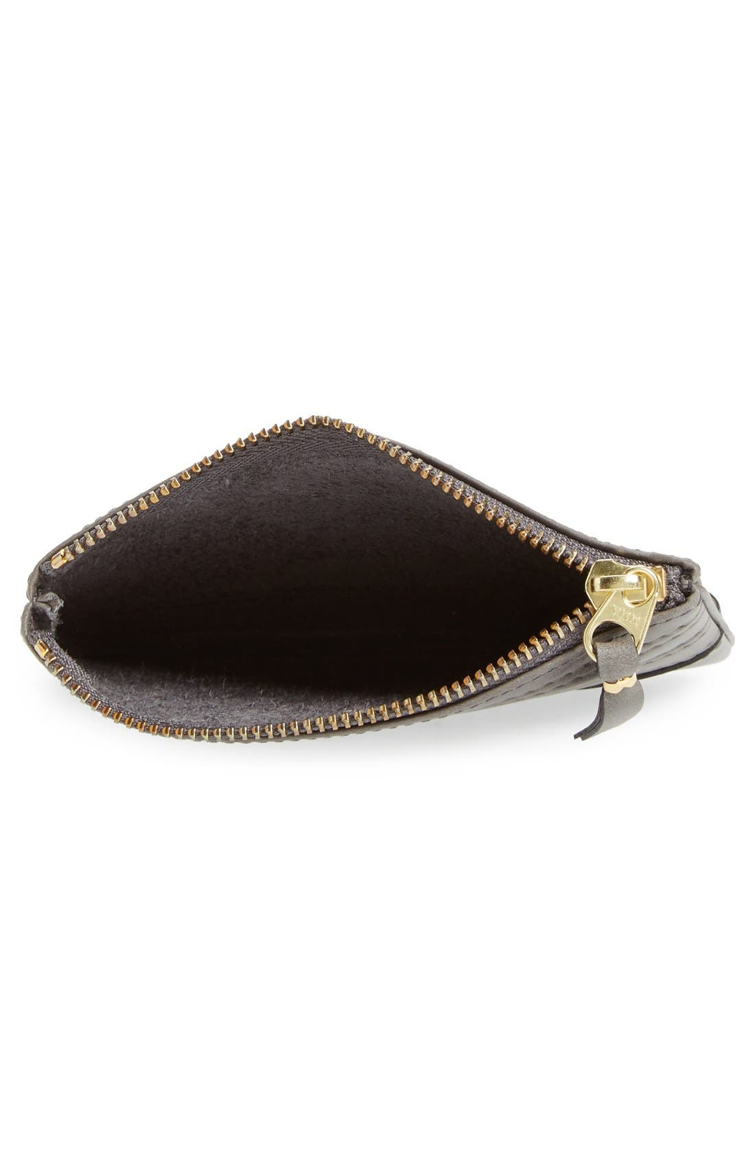 Embossed Leather Top Zip Pouch Wallet,                             Alternate thumbnail 8, color,