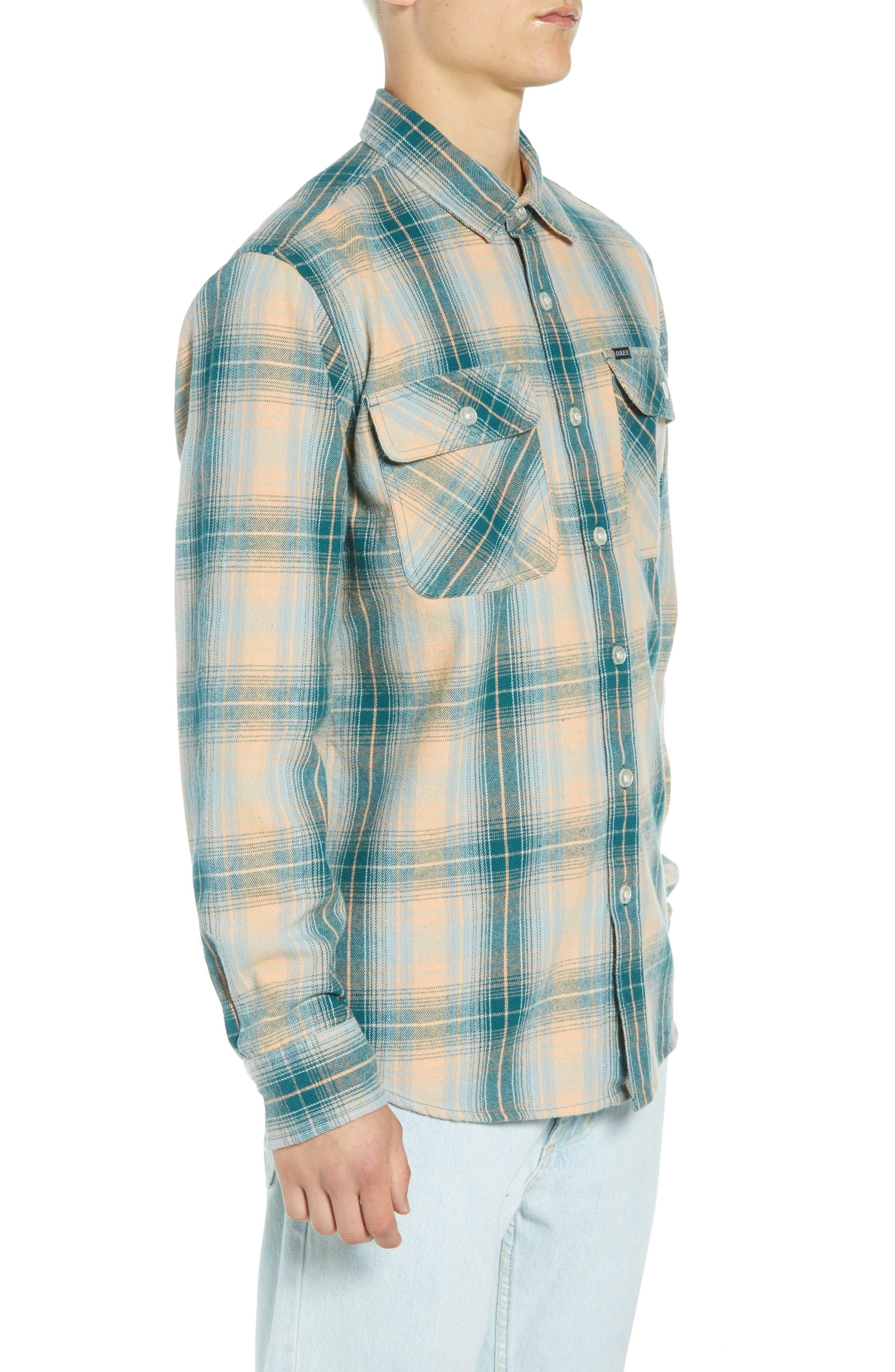 Continental Plaid Flannel Shirt,                             Alternate thumbnail 4, color,                             PINE MULTI