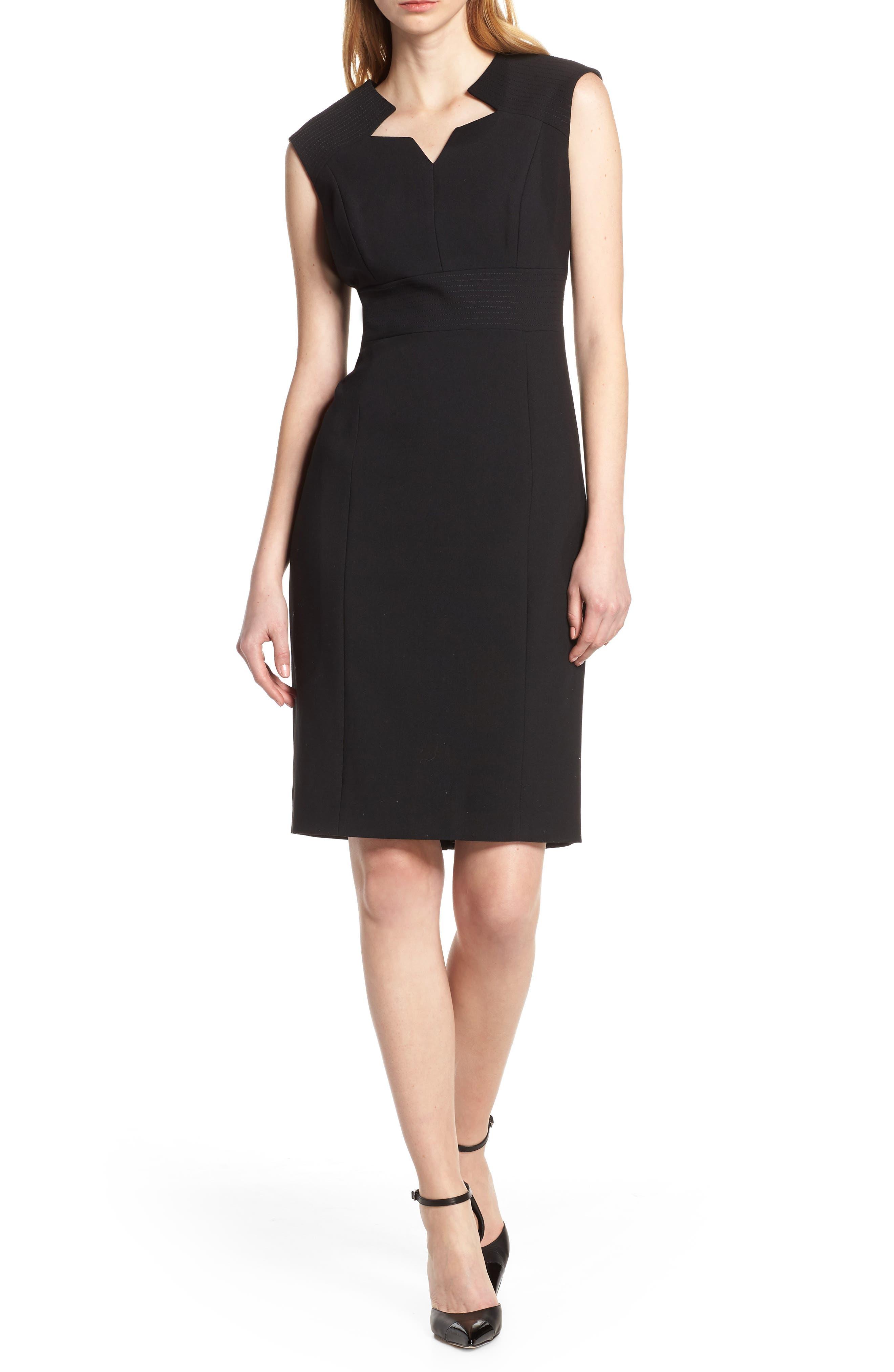 TAHARI Star Neckline Crepe Sheath Dress, Main, color, BLACK