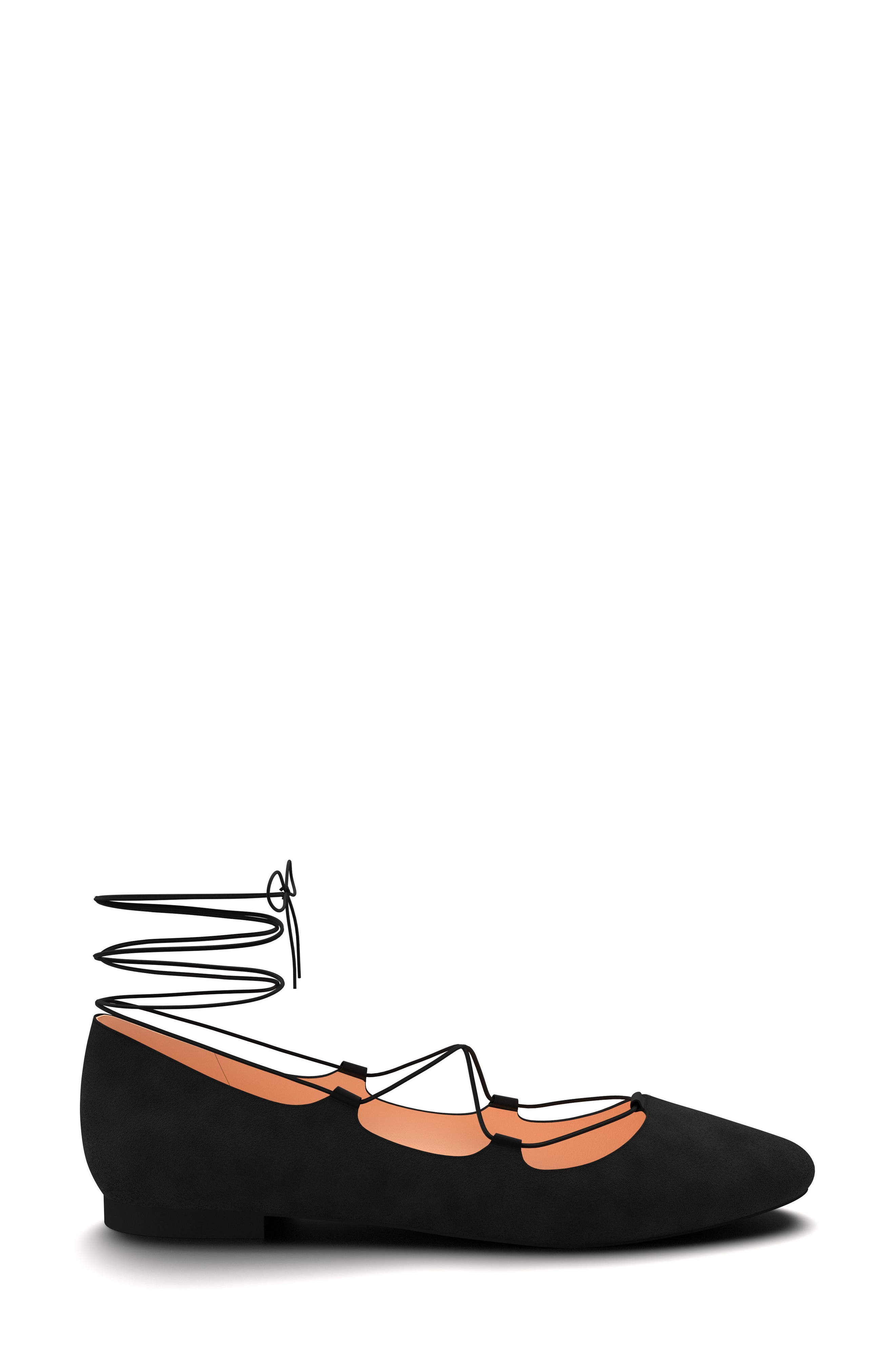 Ghillie Pointy Toe Ballet Flat,                             Alternate thumbnail 3, color,                             001