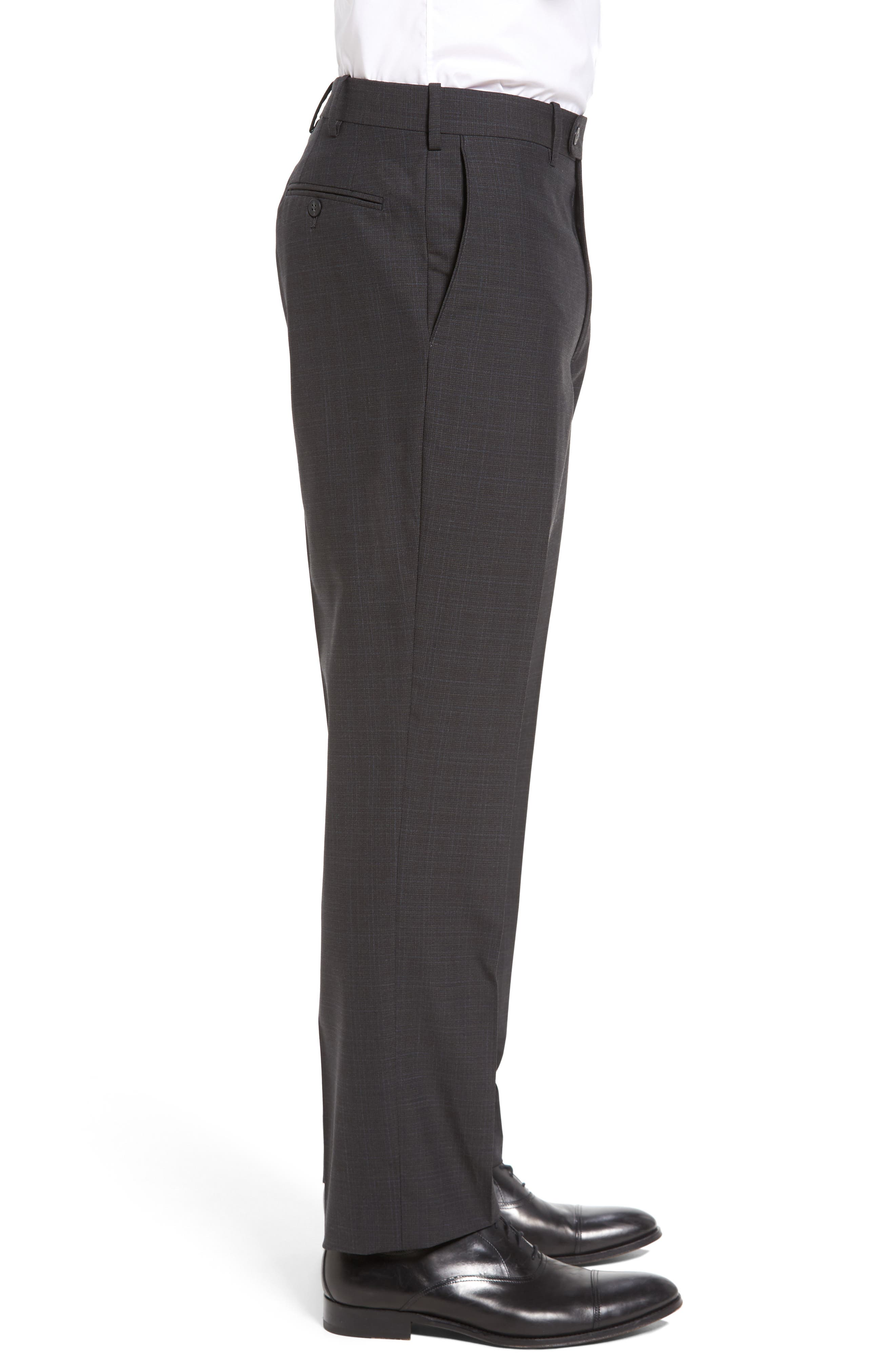 Flat Front Plaid Wool Trousers,                             Alternate thumbnail 10, color,
